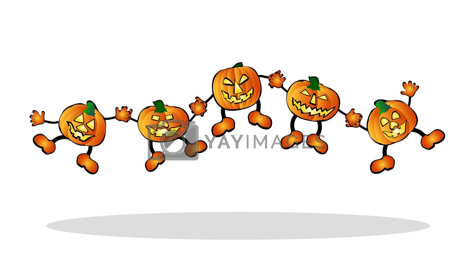 illustration of happy, jumping pumpkins