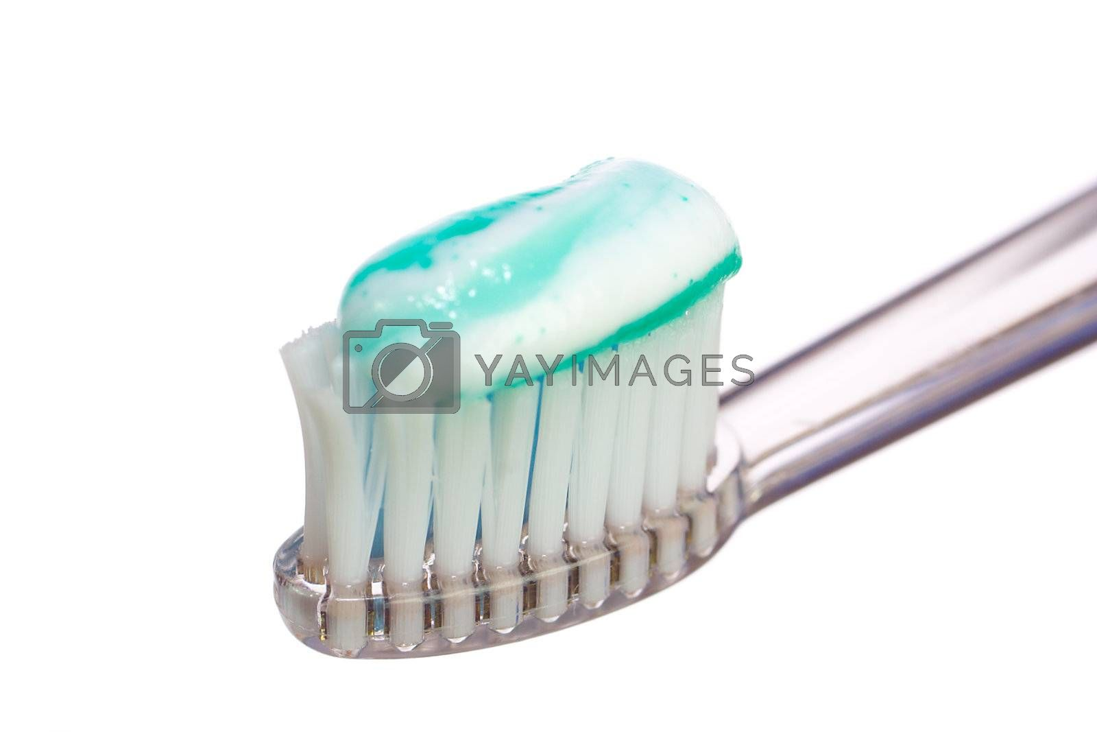 tooth-brush with paste, isolated on white
