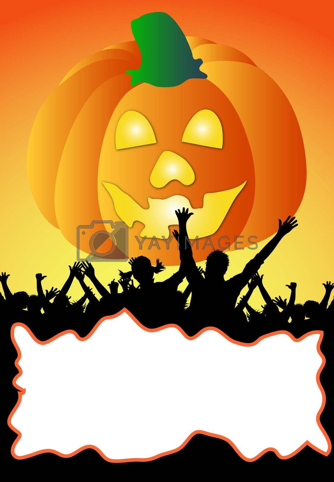 a illustration of a halloween party placard - your text here