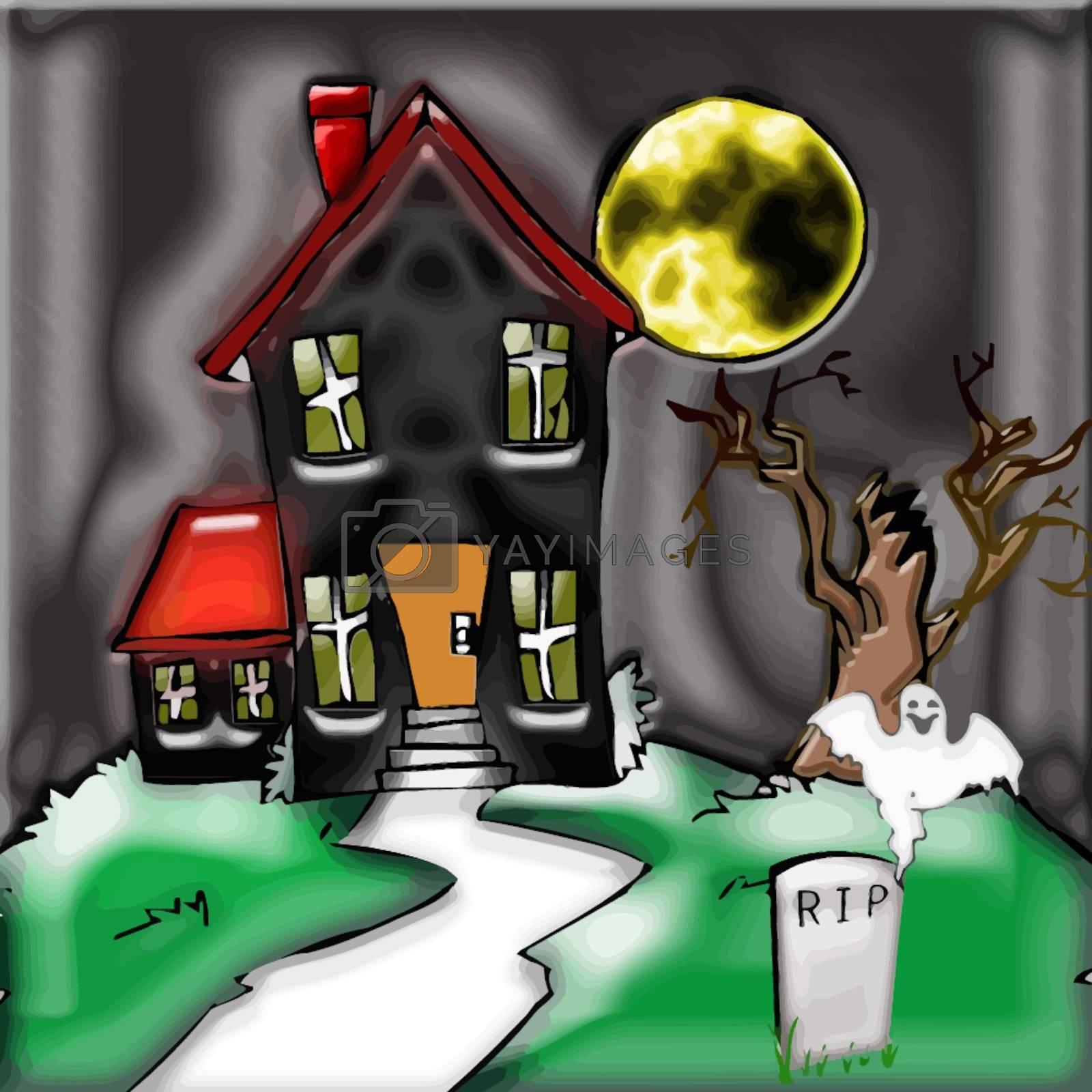 a spooky haunted house for the halloween season