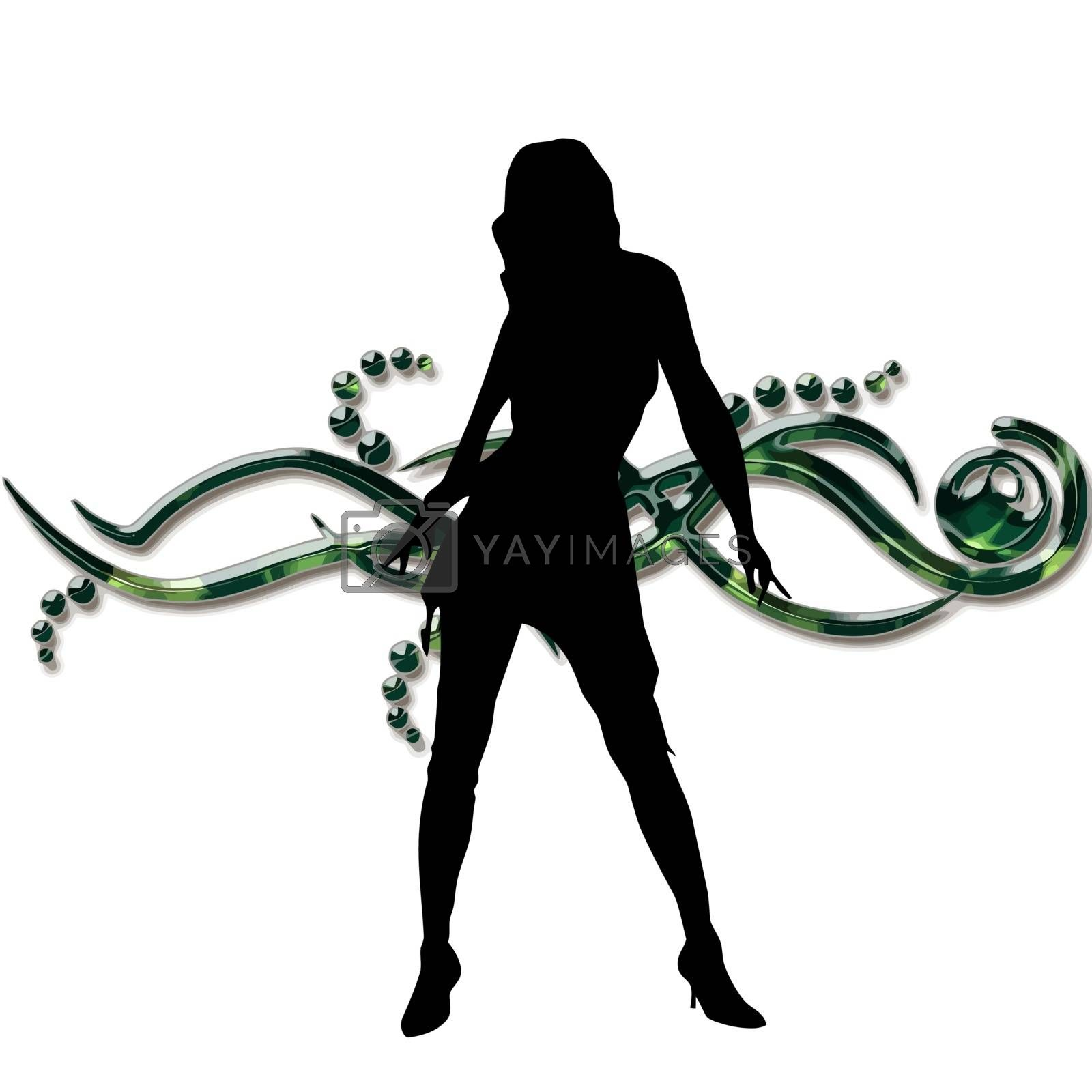 silhouette of a woman on pretty background