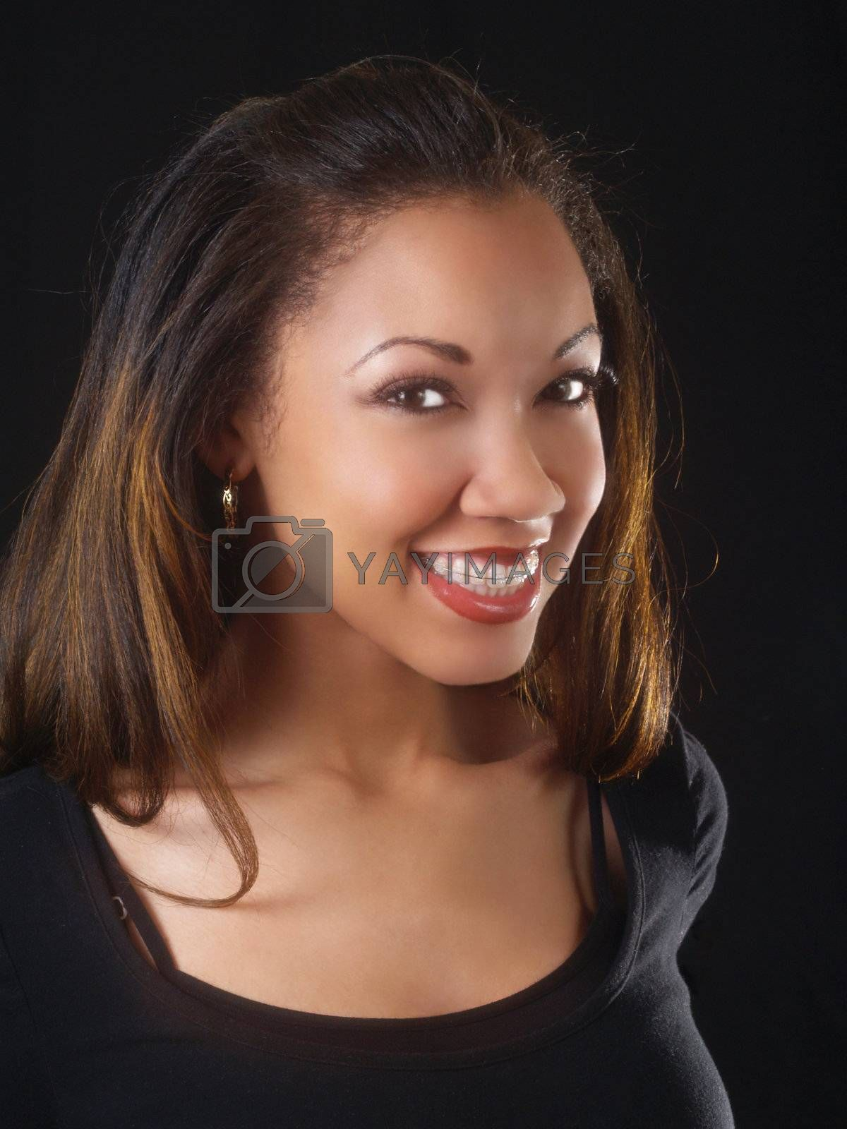 Big smile with braces on young black woman