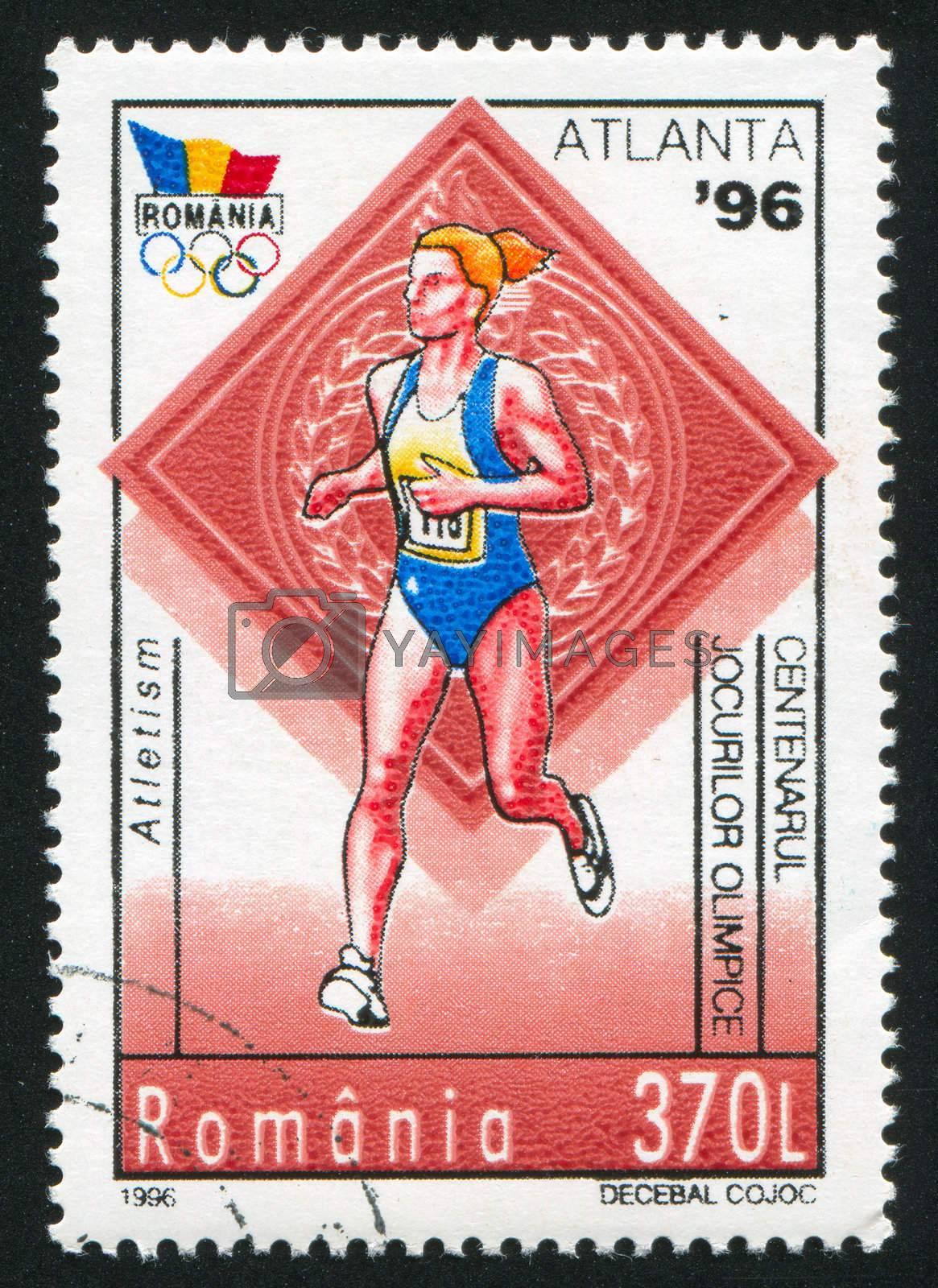 ROMANIA - CIRCA 1996: stamp printed by Romania, show runner, circa 1996.