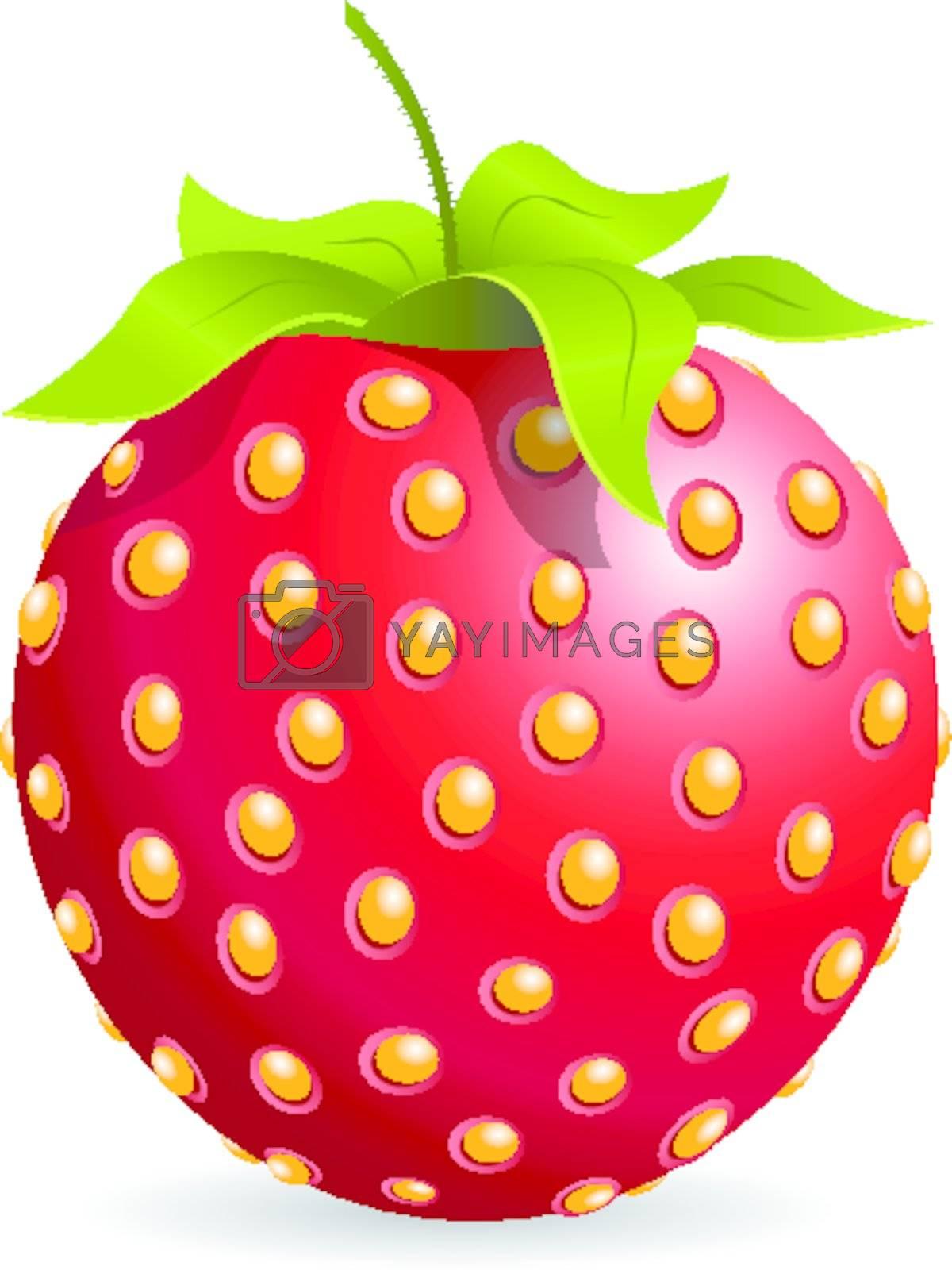 illustration, single red strawberry on white background