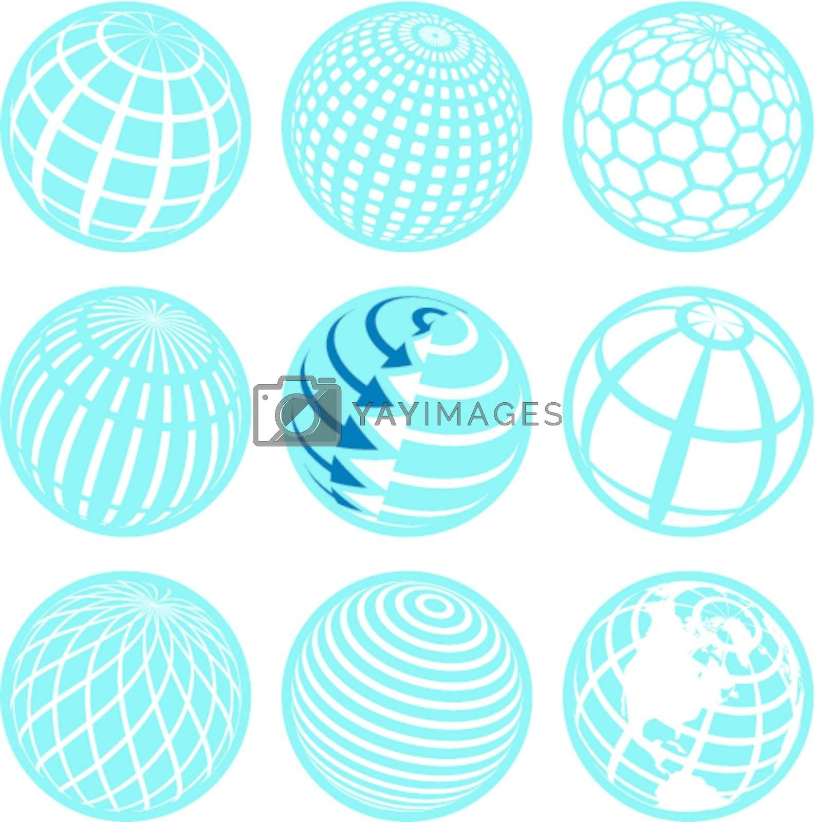 illustration, nine blue symbols of the planet on white background