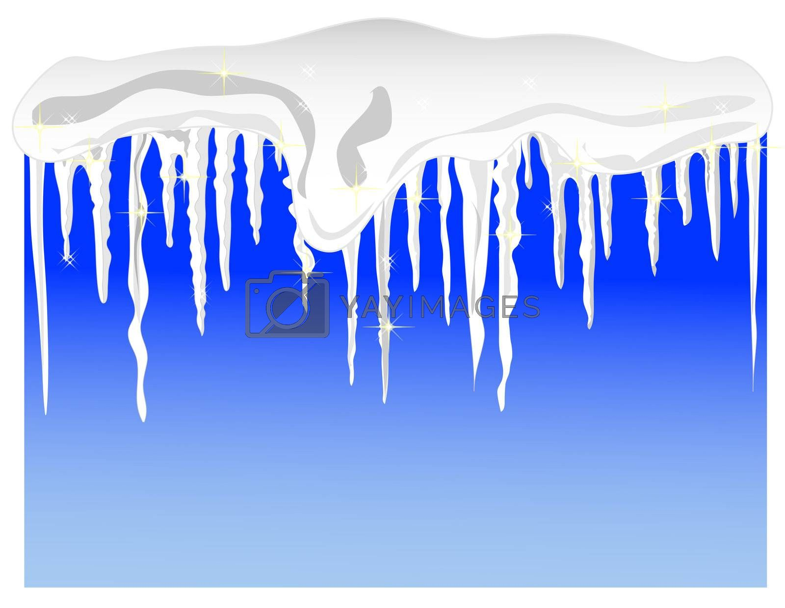 a winter background with snow and icicles