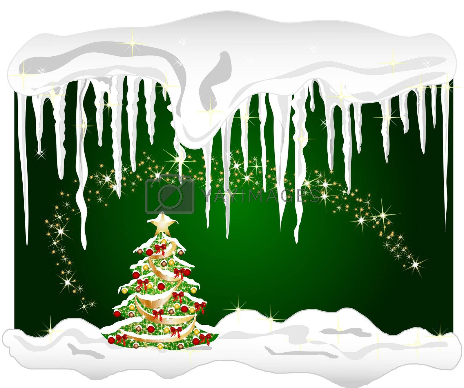 illustration of a cold winter background with christmas tree and icicle