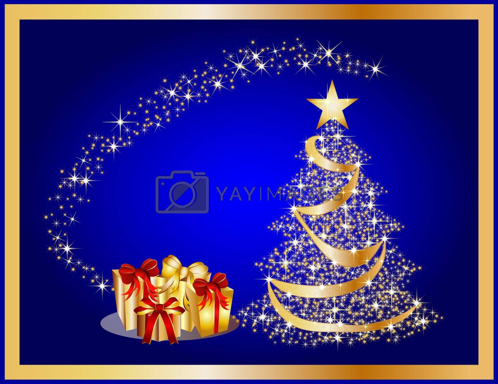 golden christmas tree on blue background by peromarketing