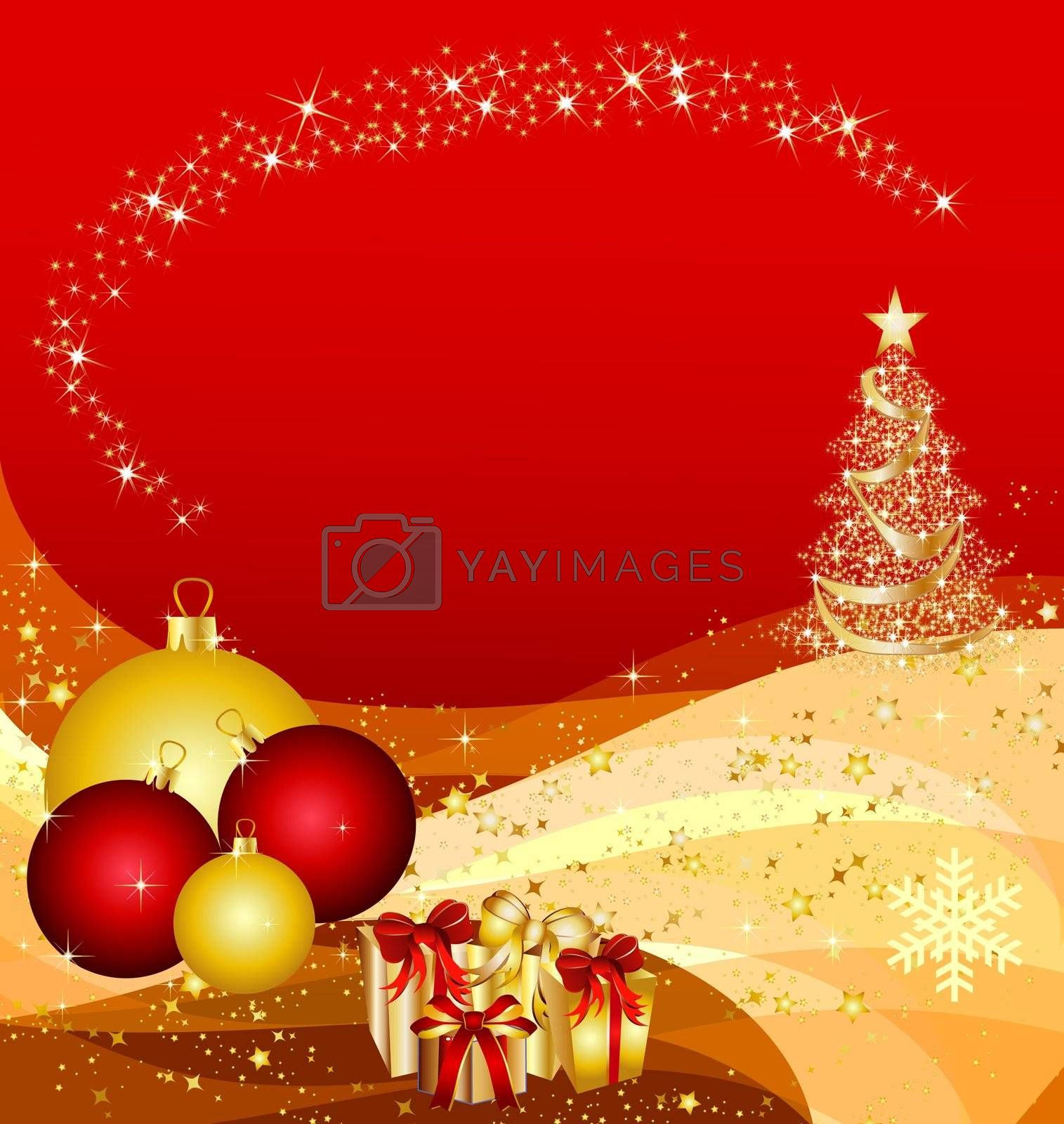 illustration of a christmas tree on golden waves