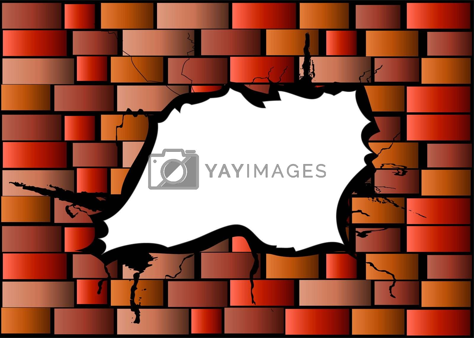 illustration of a damaged brick wall