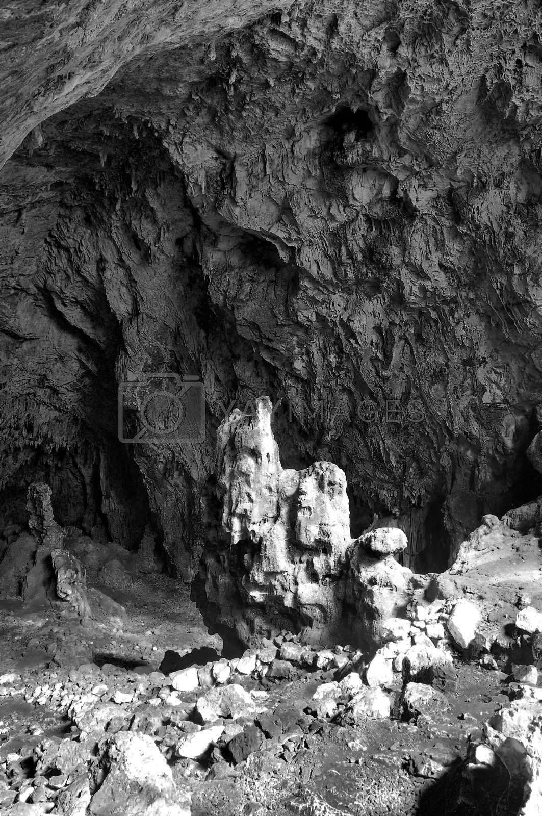 Black and white image of huge cave
