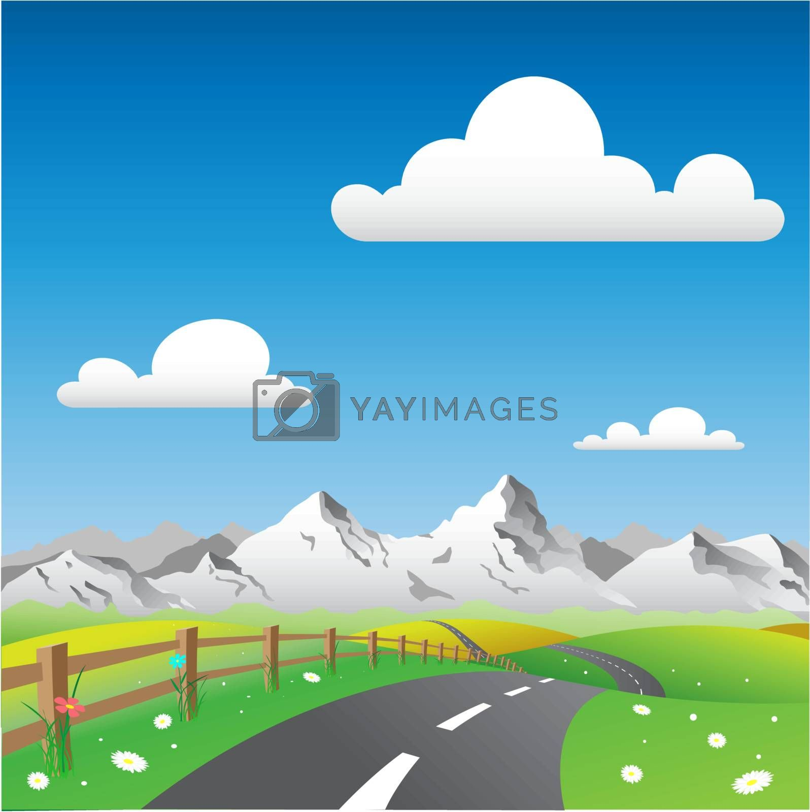 Country Landscape with Road and Mountains