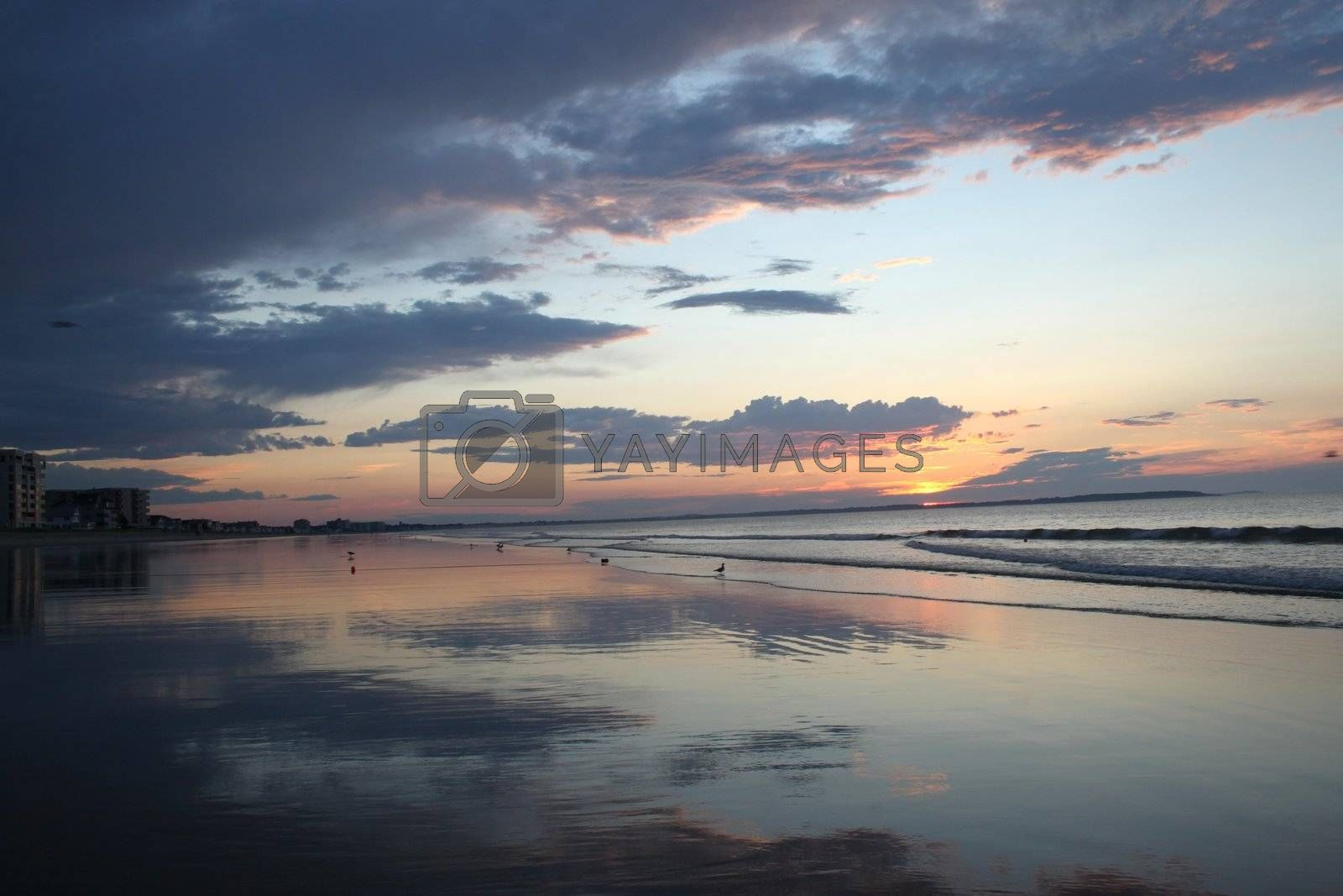 Old orchard Beach sunrise at low tide