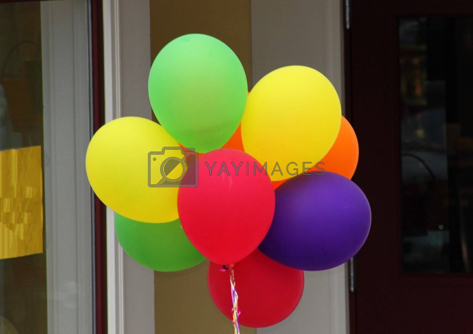 Group of very colorfull helium filled balloons