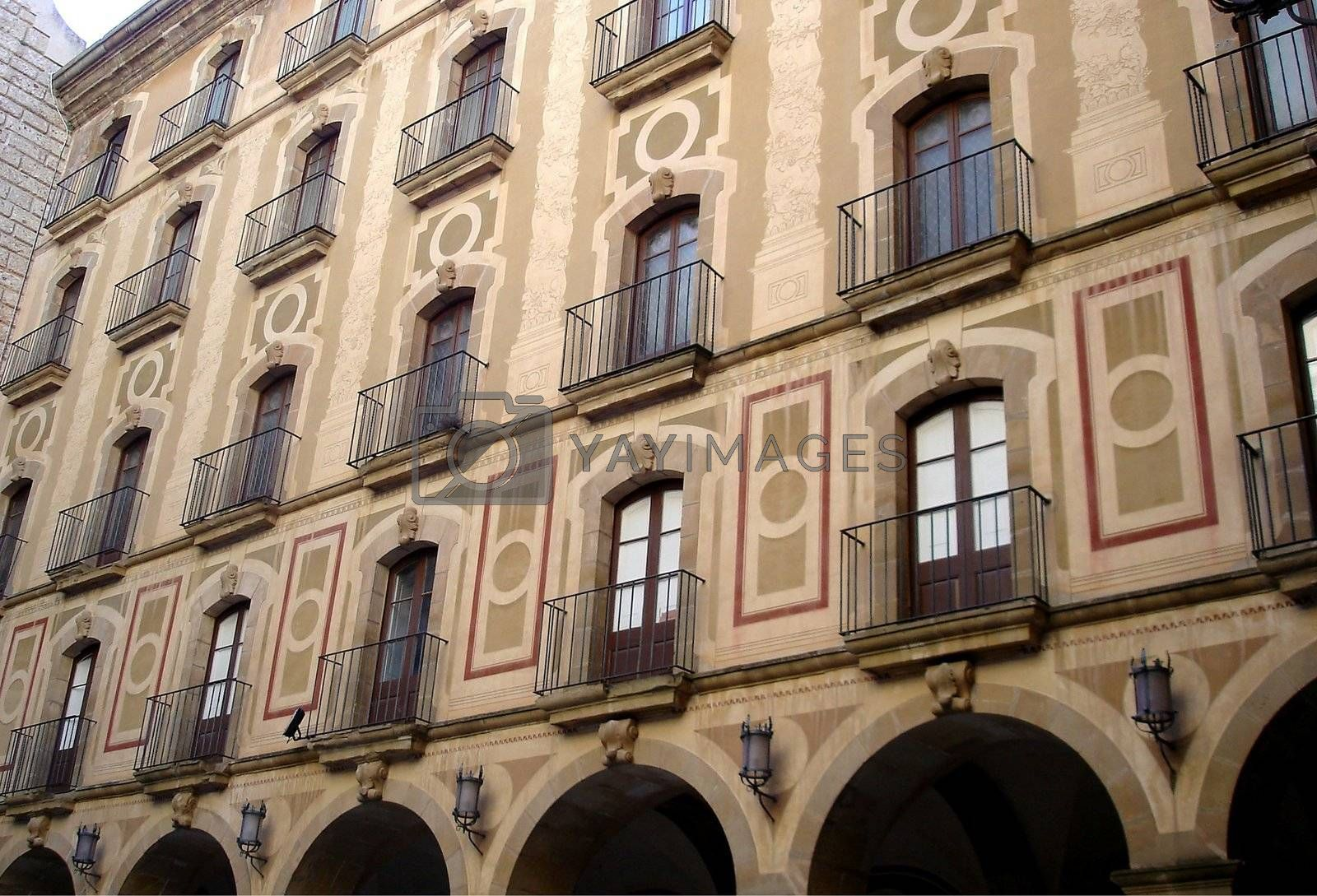 View of balconies on building in Barcelona