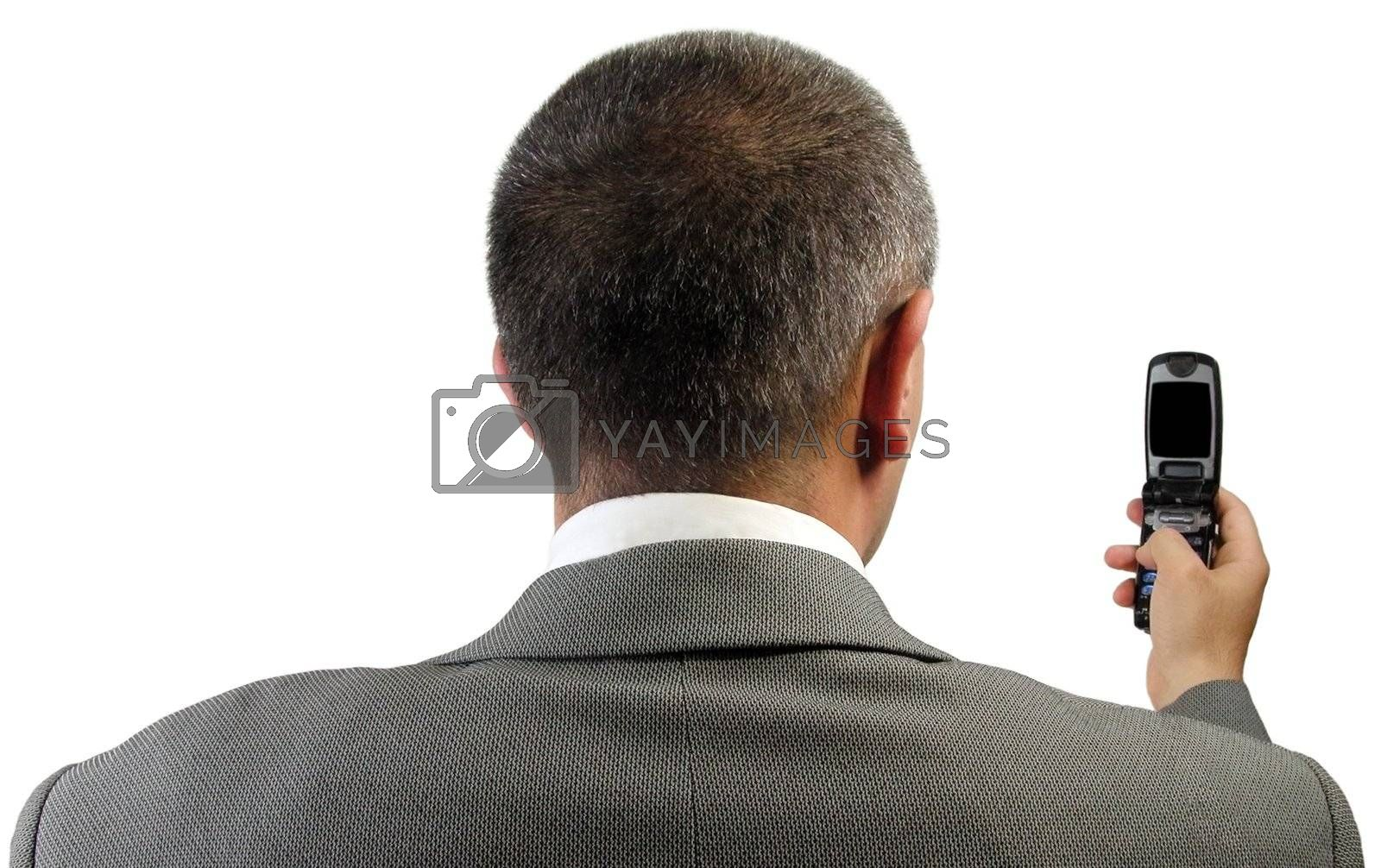 Businessman checking his mobile phone.