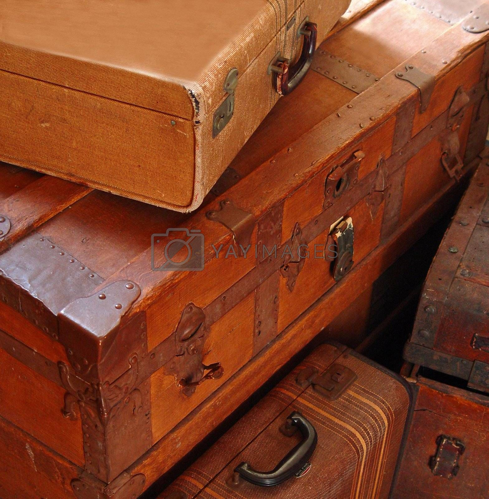 Antique travel trunks by Markjay