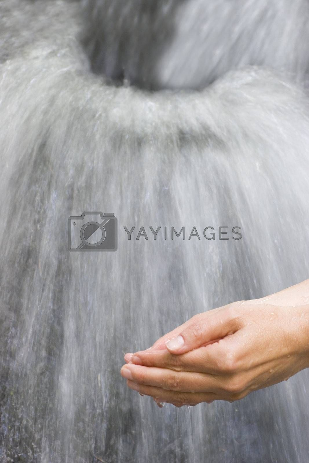 Female hands scooping pure water from a little waterfall