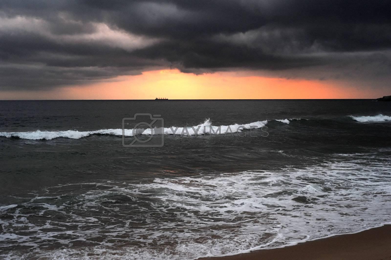 Dramatic sunset in the Indian ocean. Sri Lanka