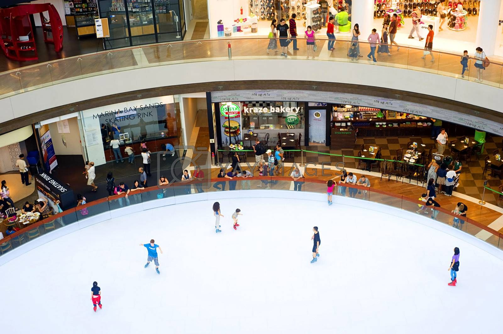 Singapore, Republic of Singapore - May 02, 2011: Sky rink in a shopping centre at Marina Bay Sands Resort