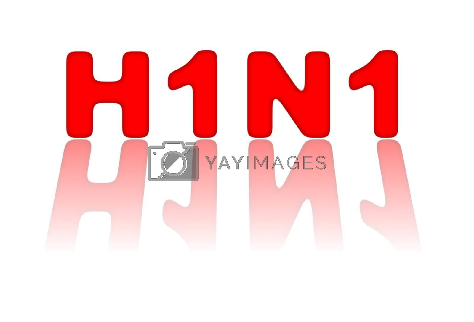 Red sign for H1N1 or swine flu on white background