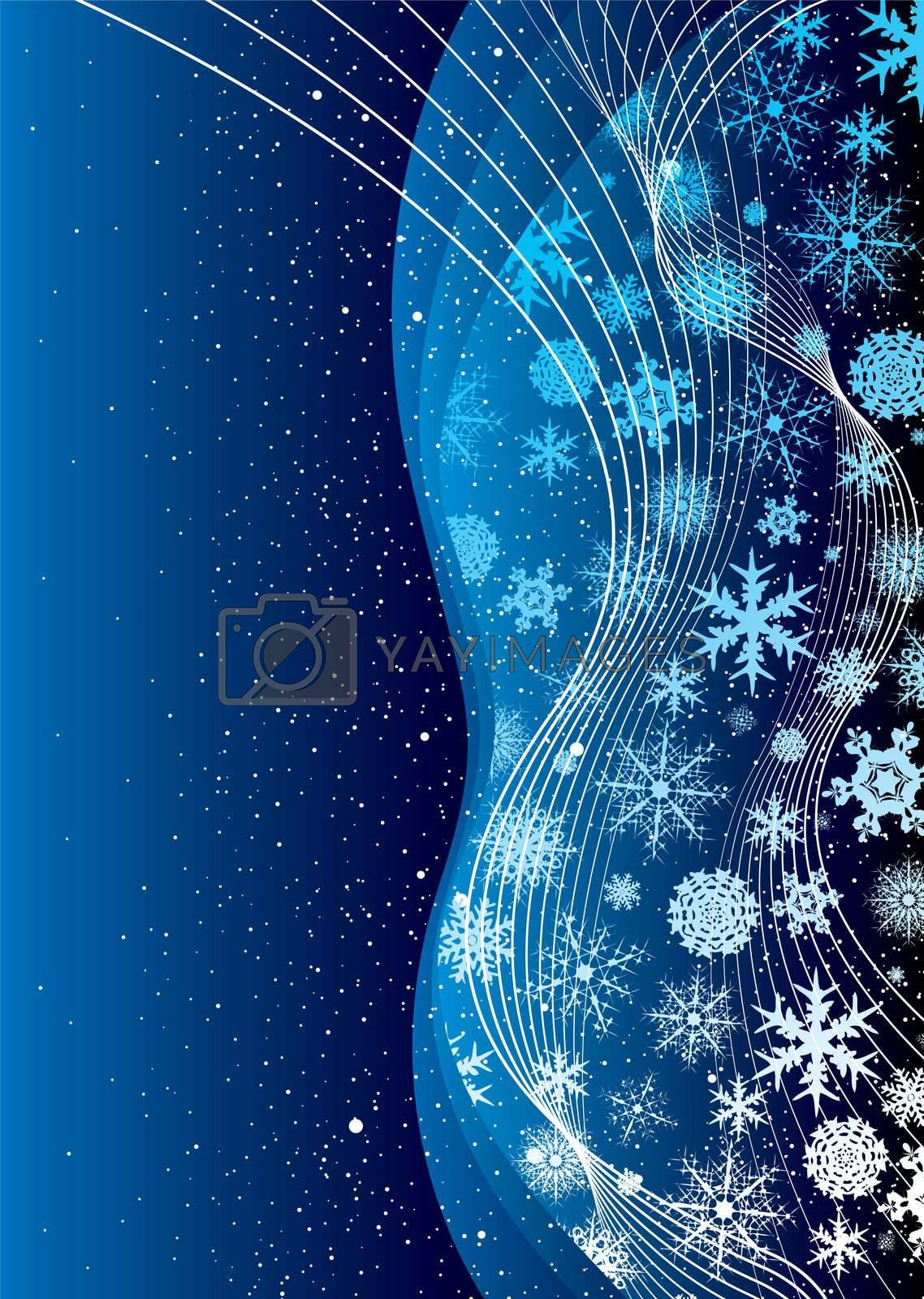 shades of blue abstract christmas background with snow flakes