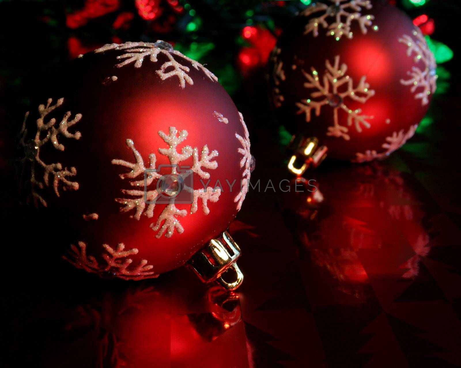 Two Red Snowflake Baubles  by ca2hill
