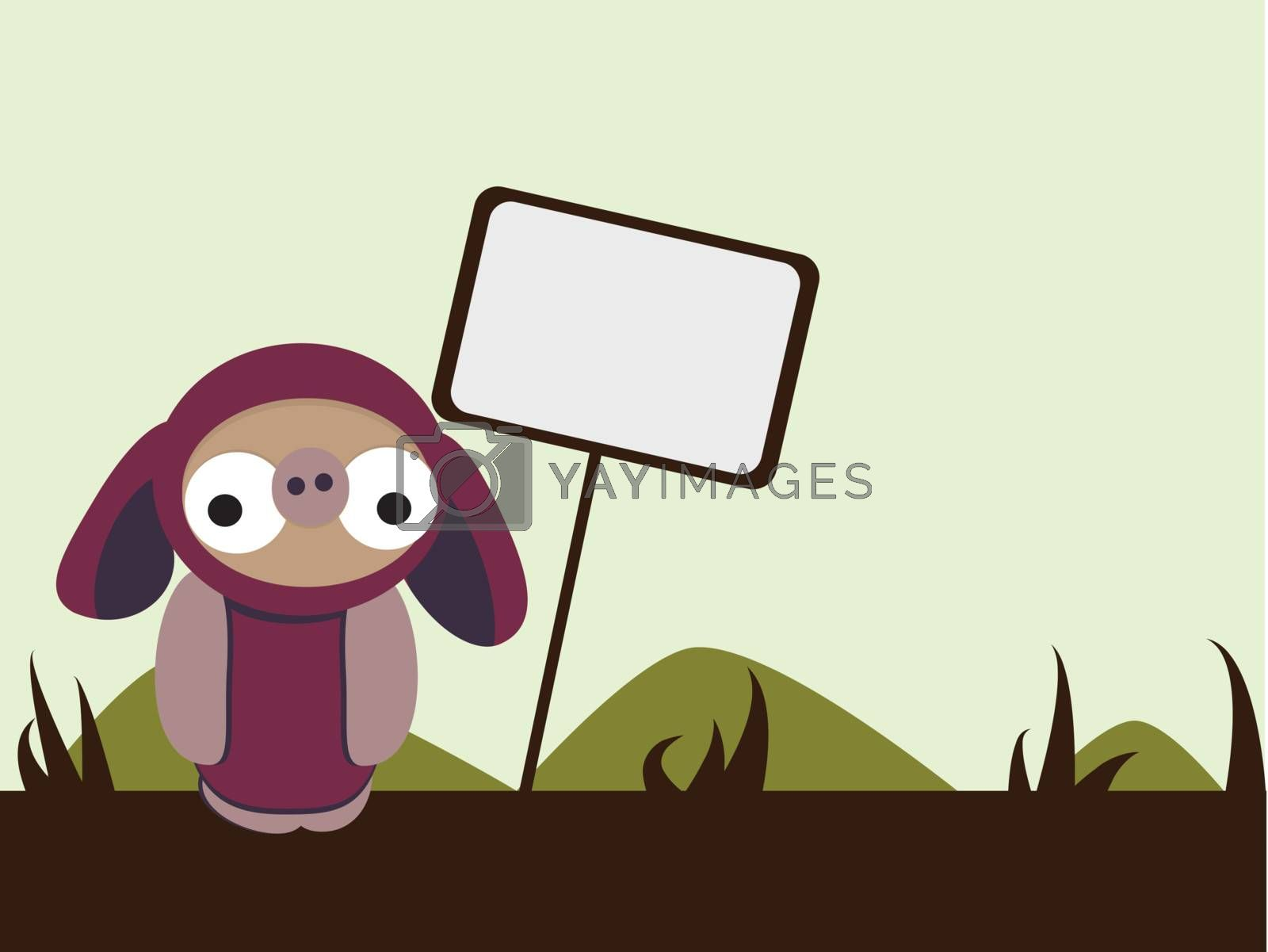Royalty free image of Doobiez with sign in simple landscape by sukro