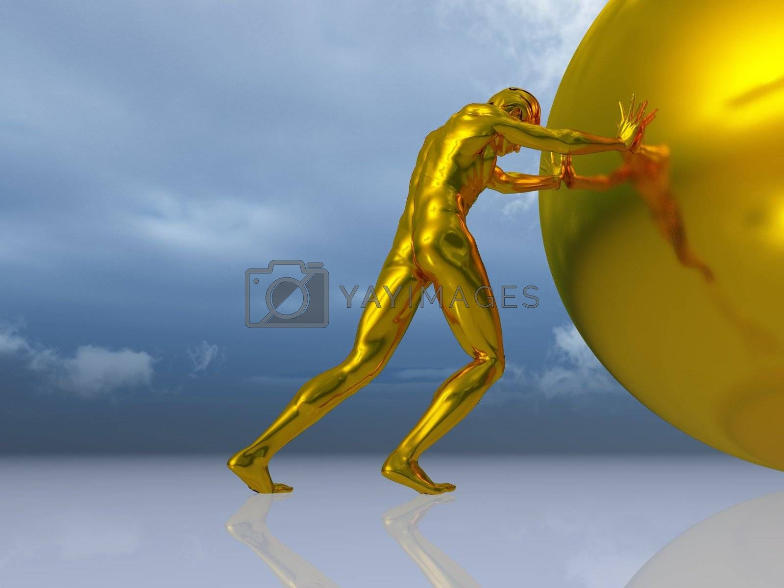 Royalty free image of man rolls ball by drizzd