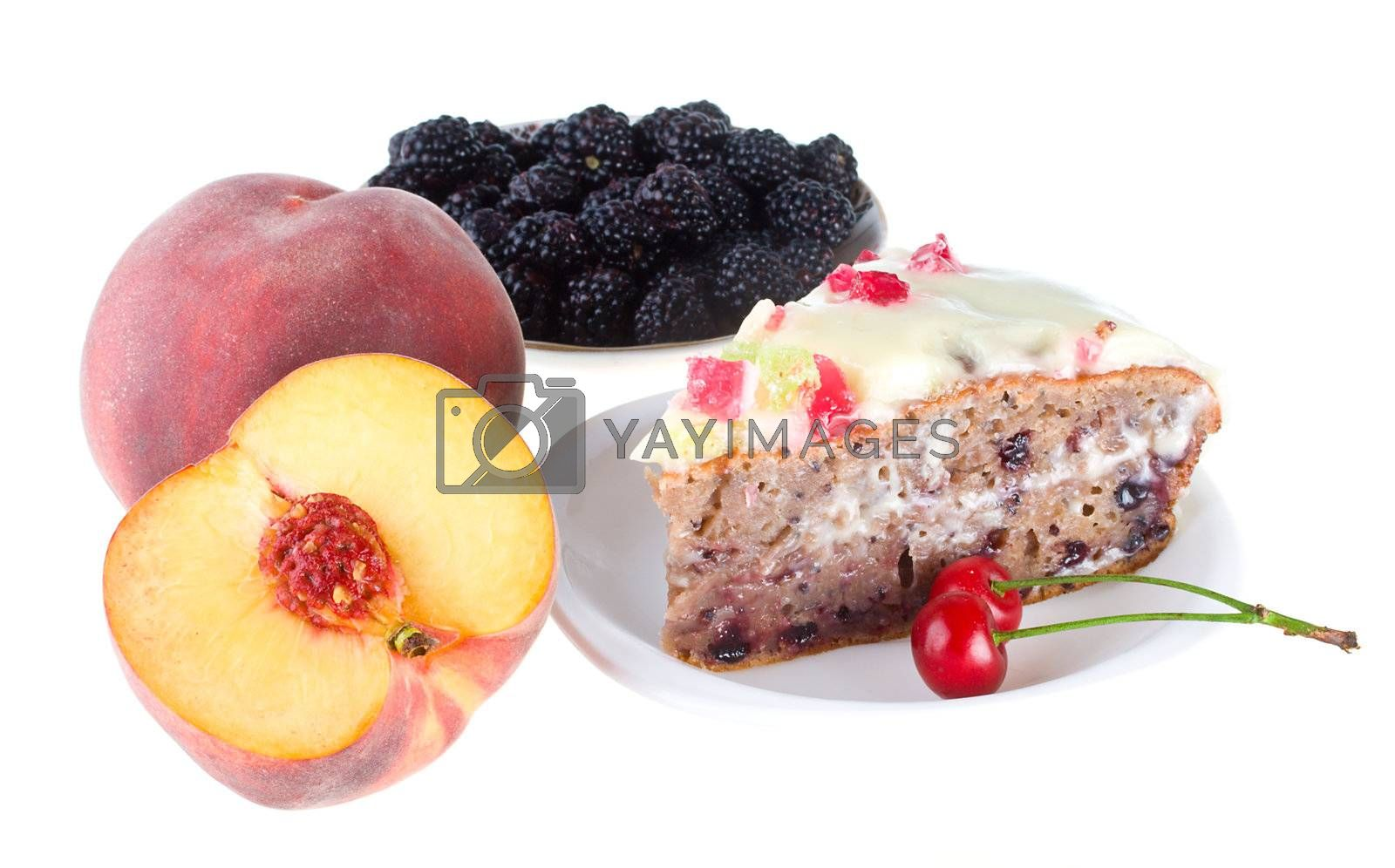 Royalty free image of fruits and cake by Alekcey