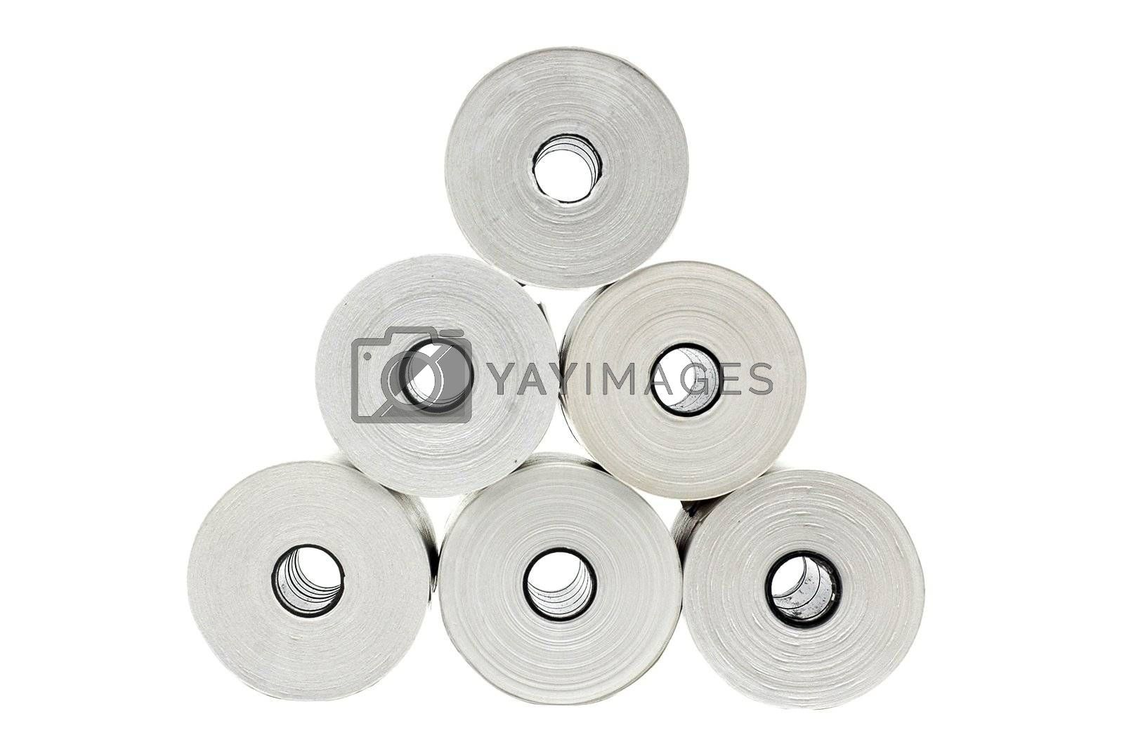 Royalty free image of Six rolls of thermo paper by Embosser