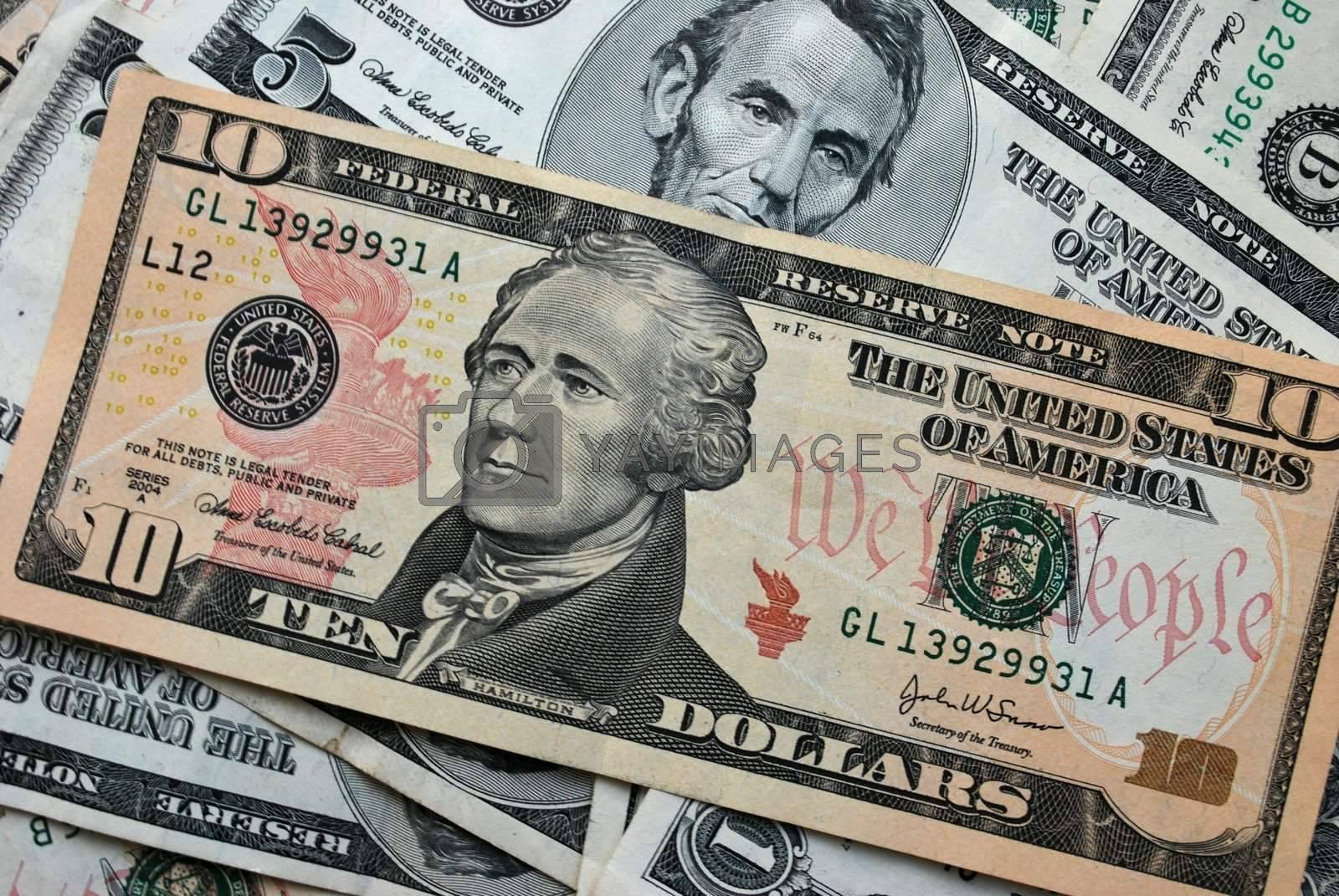 Royalty free image of 10 US Dollars by Skovoroda