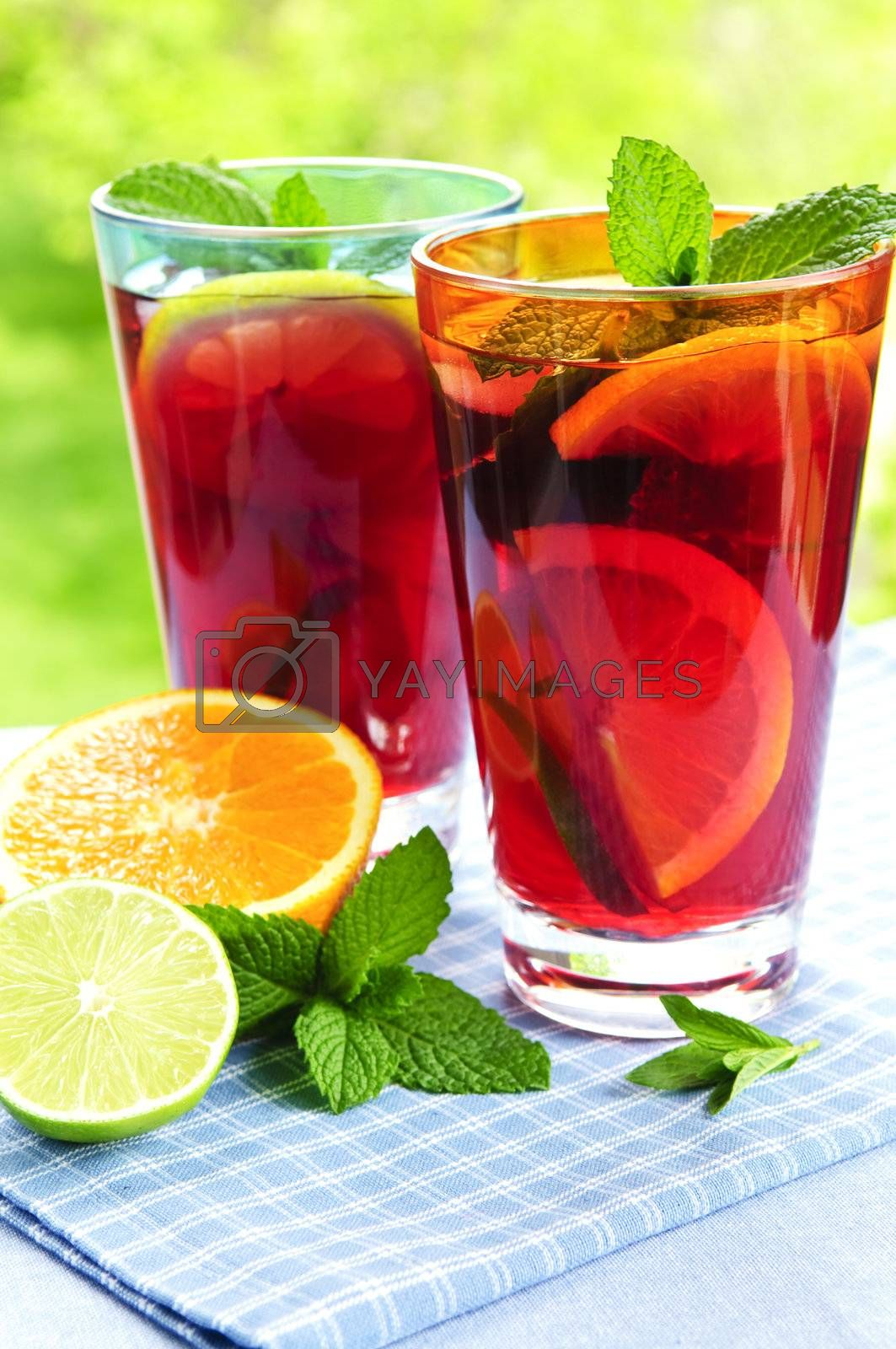 Royalty free image of Fruit punch in glasses by elenathewise