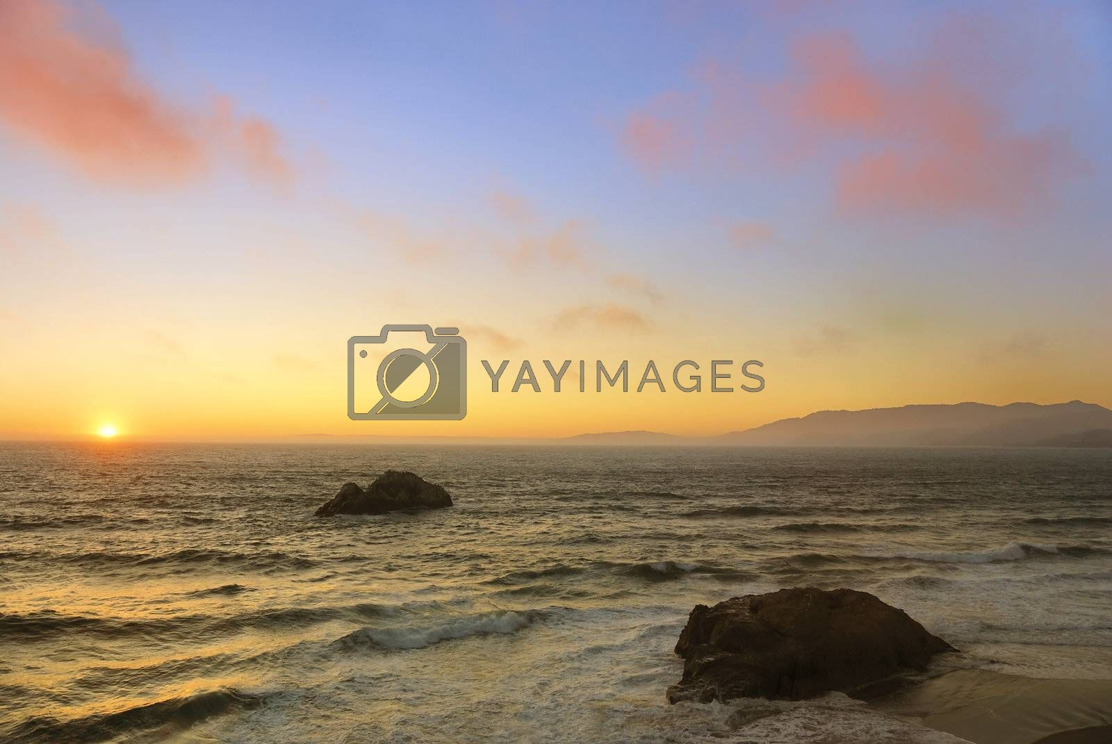 Royalty free image of Ocean Beach Sunset in San Francisco by goldenangel