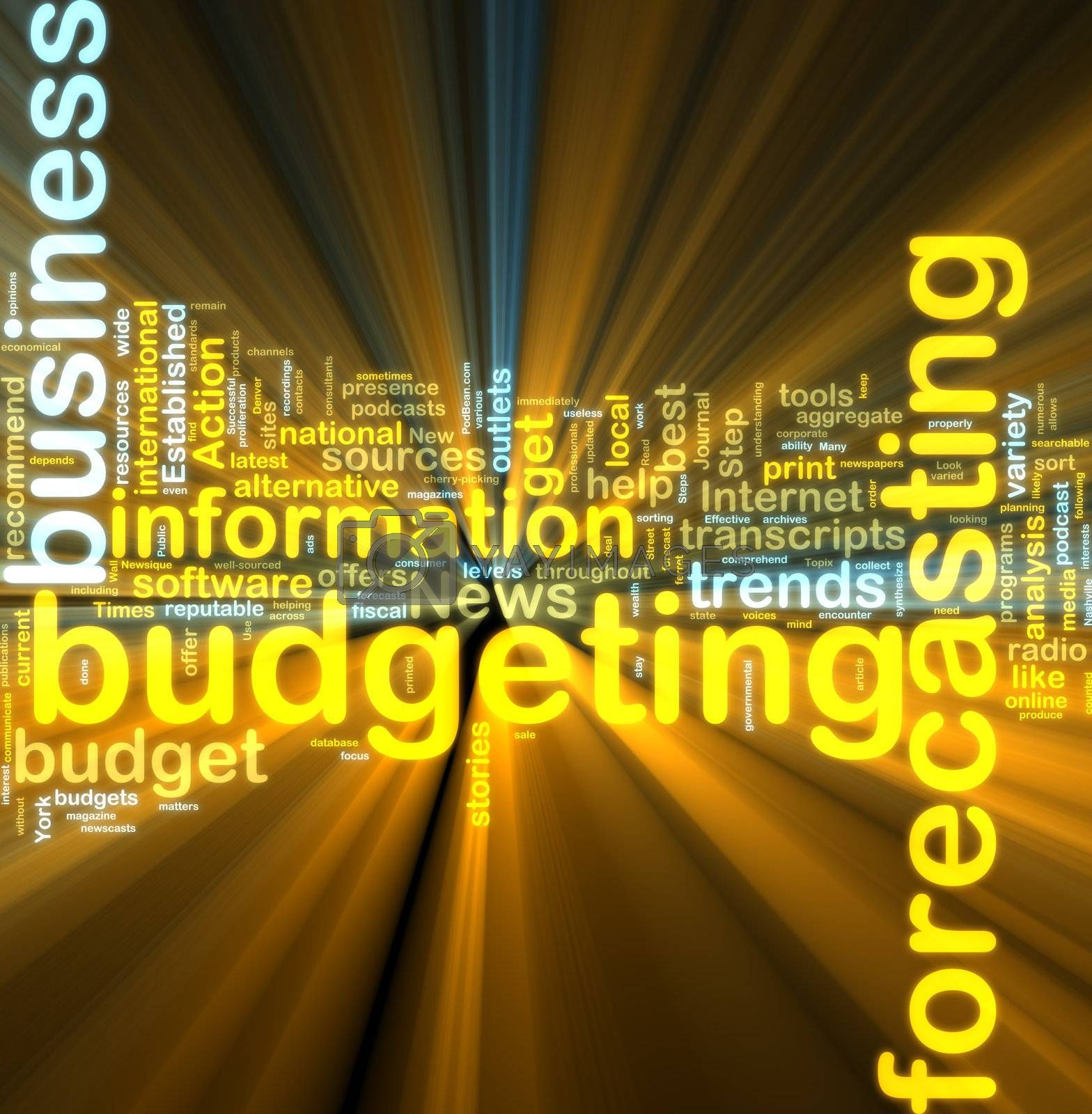Royalty free image of Budgeting wordcloud glowing by kgtoh