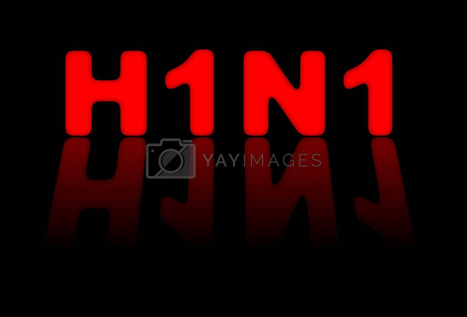 Red sign for H1N1 or swine flu on black background