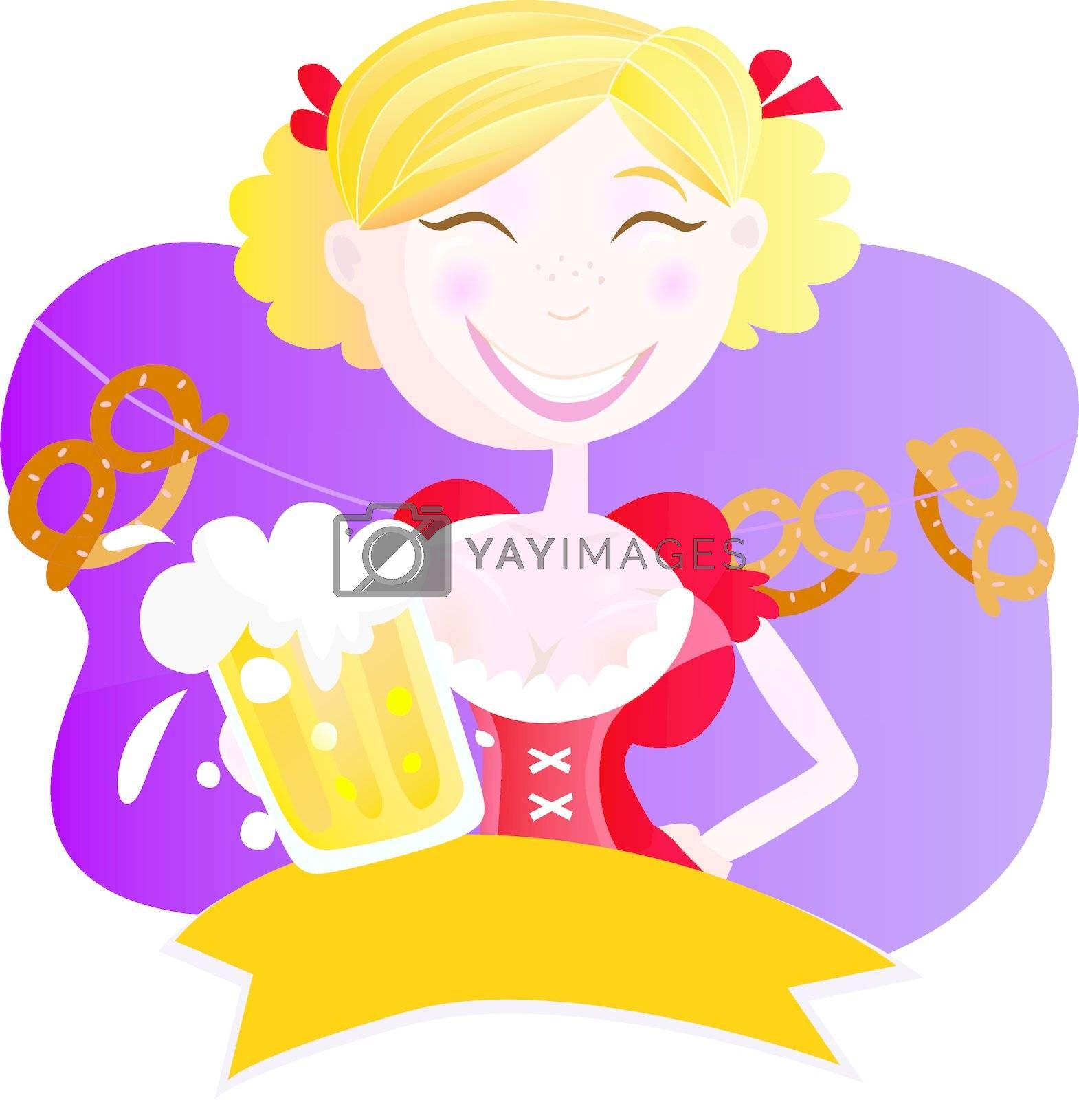 Royalty free image of Bavarian woman with beer by Lordalea