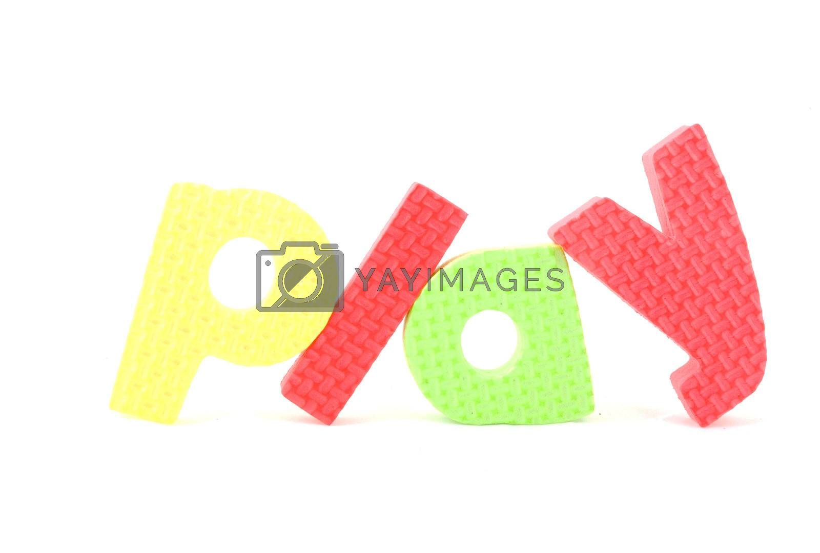 Royalty free image of colorful letters with play isolated on white background  by ladyminnie