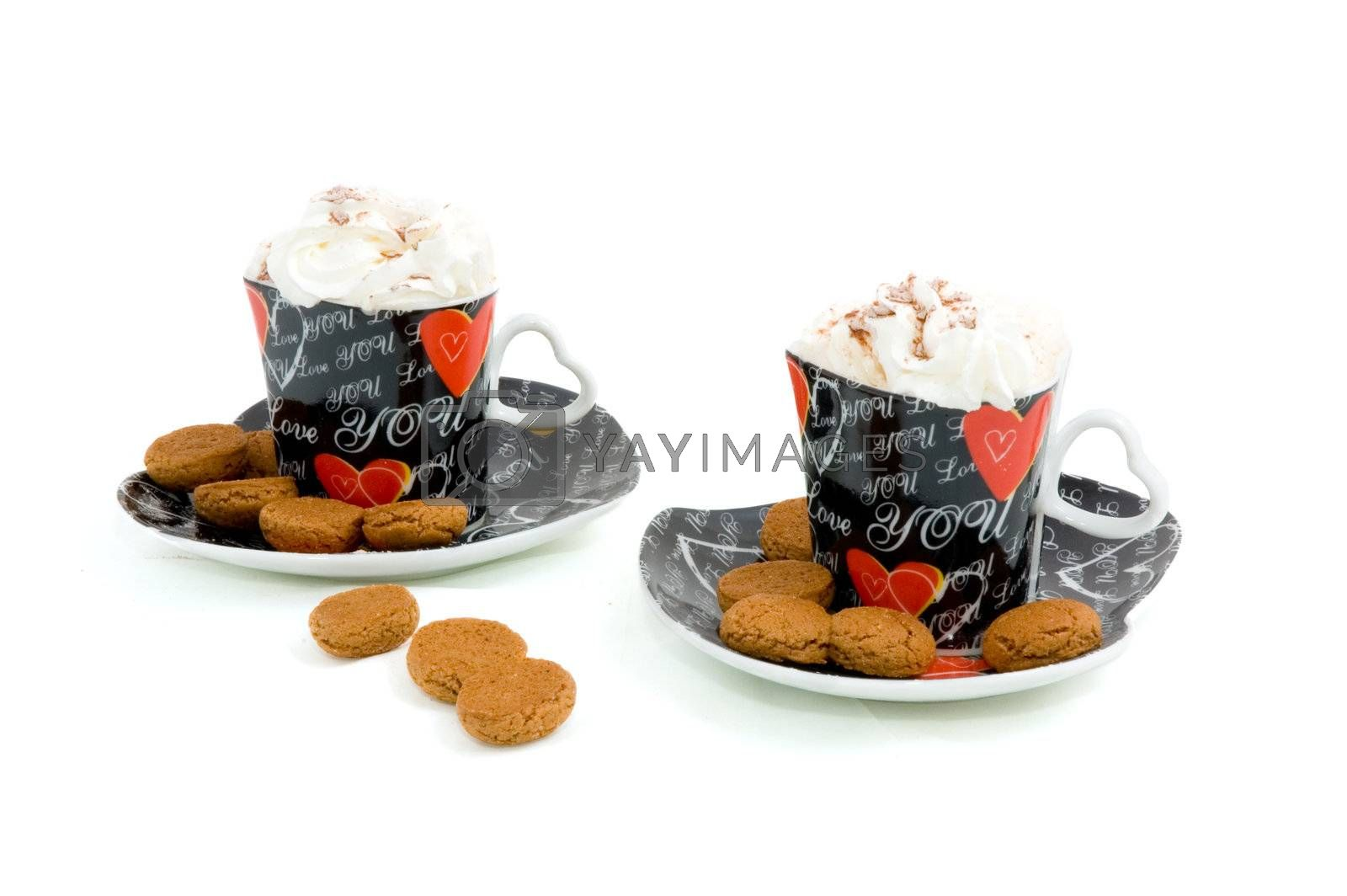 Royalty free image of heart shape cups with coffee and whipped cream by ladyminnie