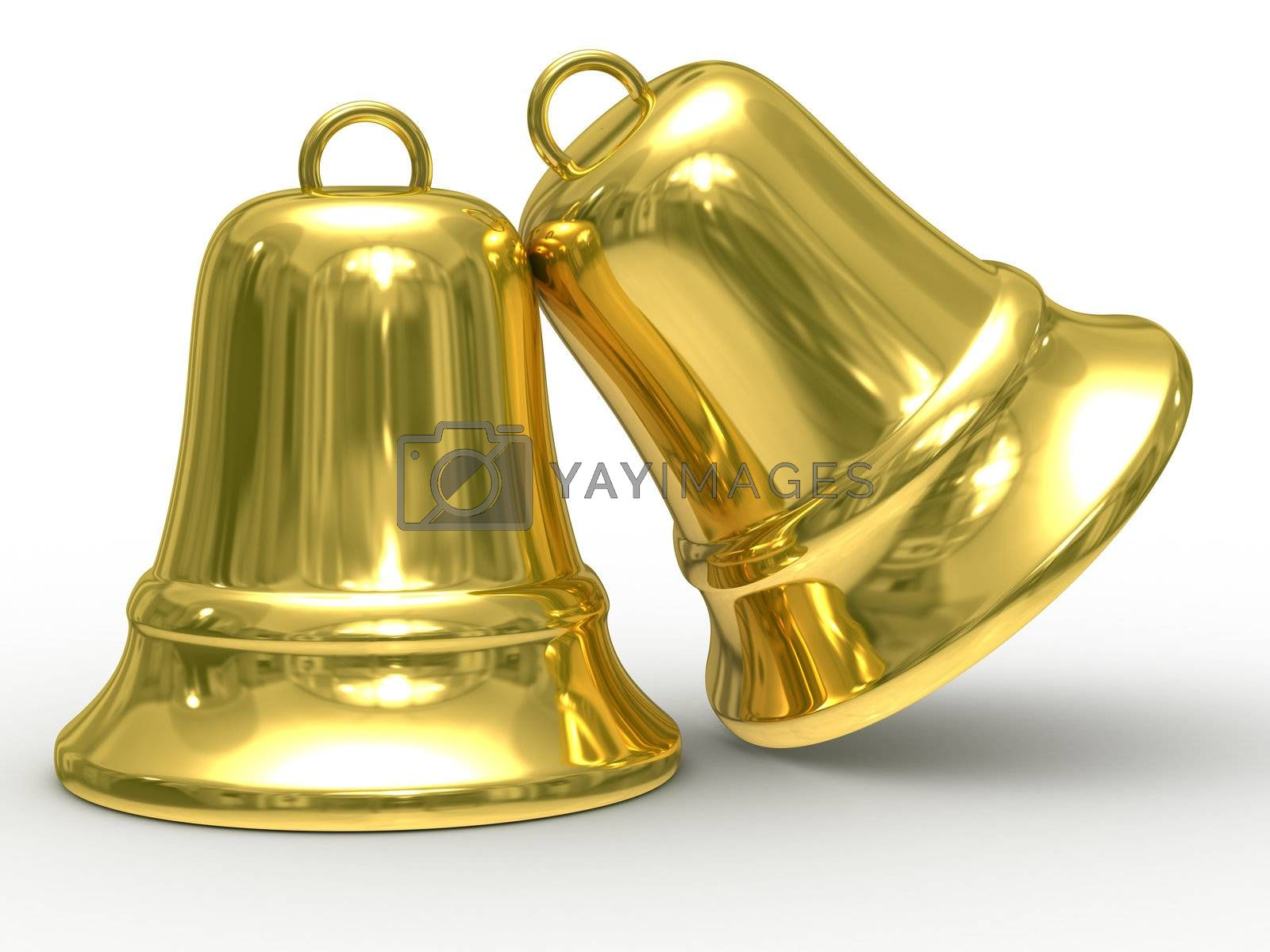 Royalty free image of Two gold hand bell on white background. Isolated 3D image. by ISerg