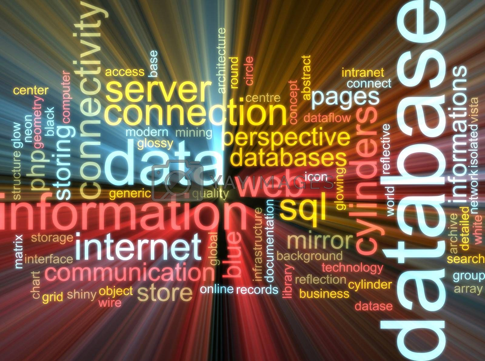 Royalty free image of Database word cloud glowing by kgtoh