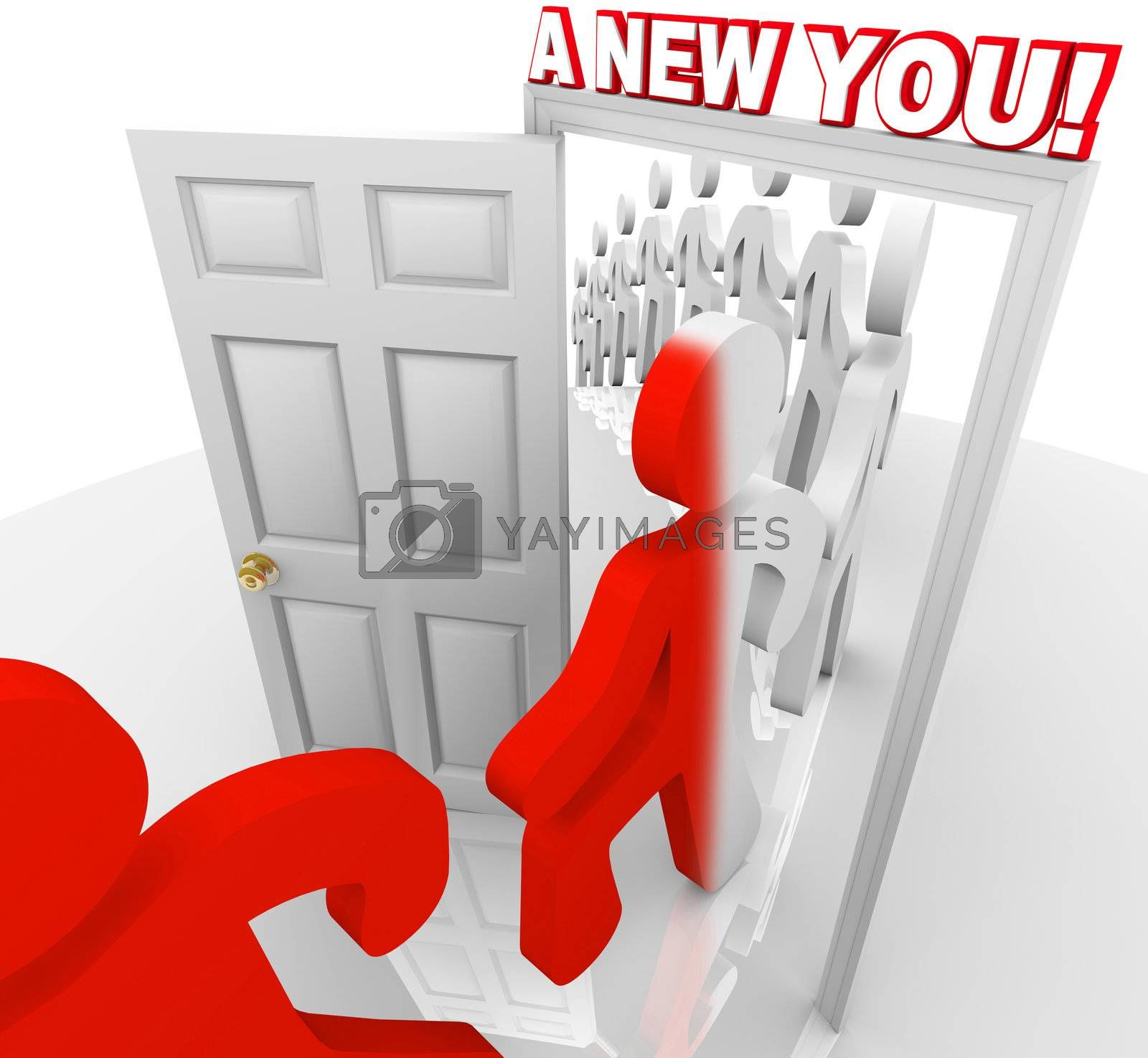 Several people walk through a doorway marked A New You, representing the self-improvement and reinvention that can happen when you set out to improve yourself through educaiton or other forms of motivation and attitude adjustment