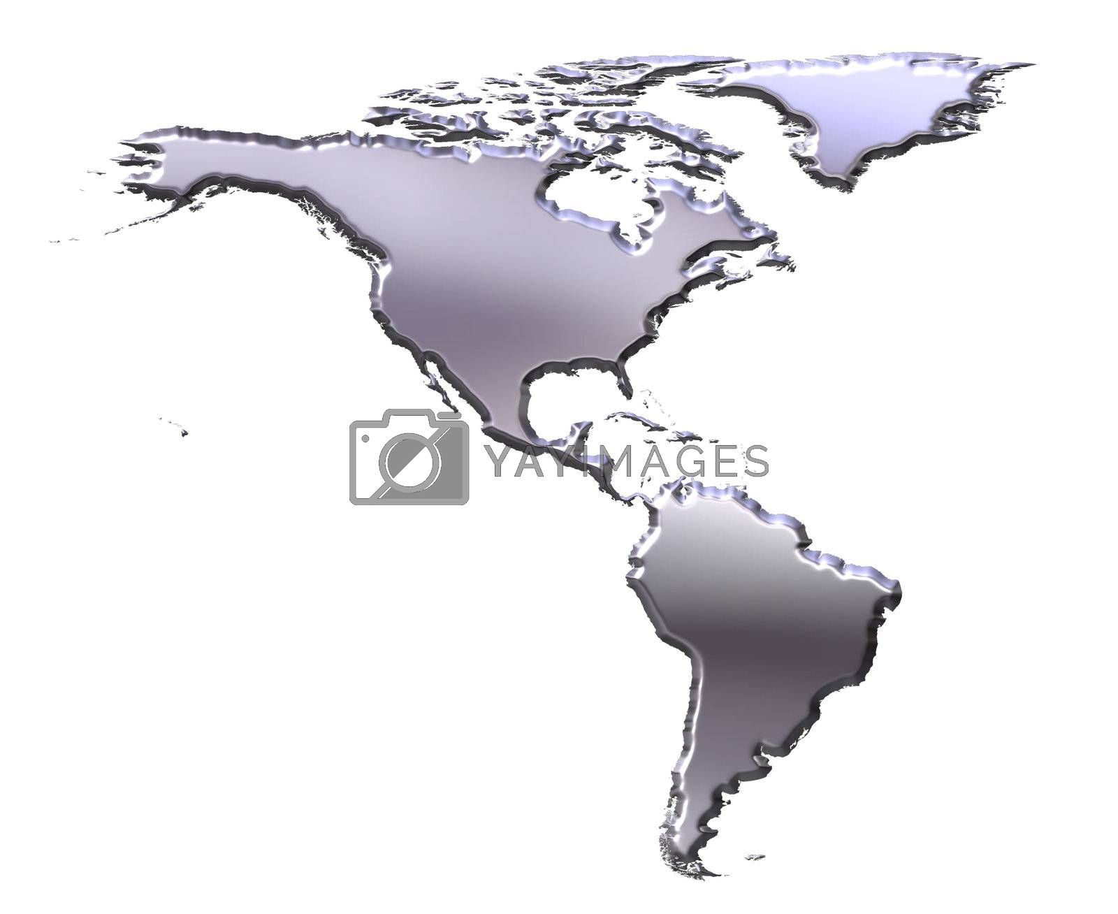 Royalty free image of America 3D Silver Map by Georgios