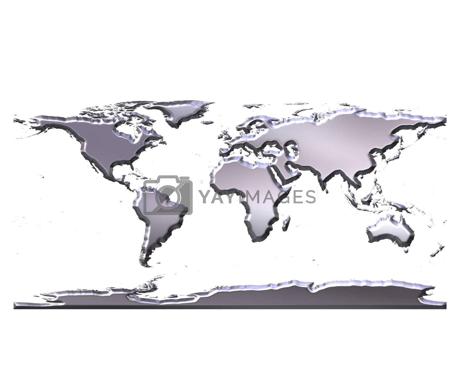 Royalty free image of 3D Silver World Map by Georgios