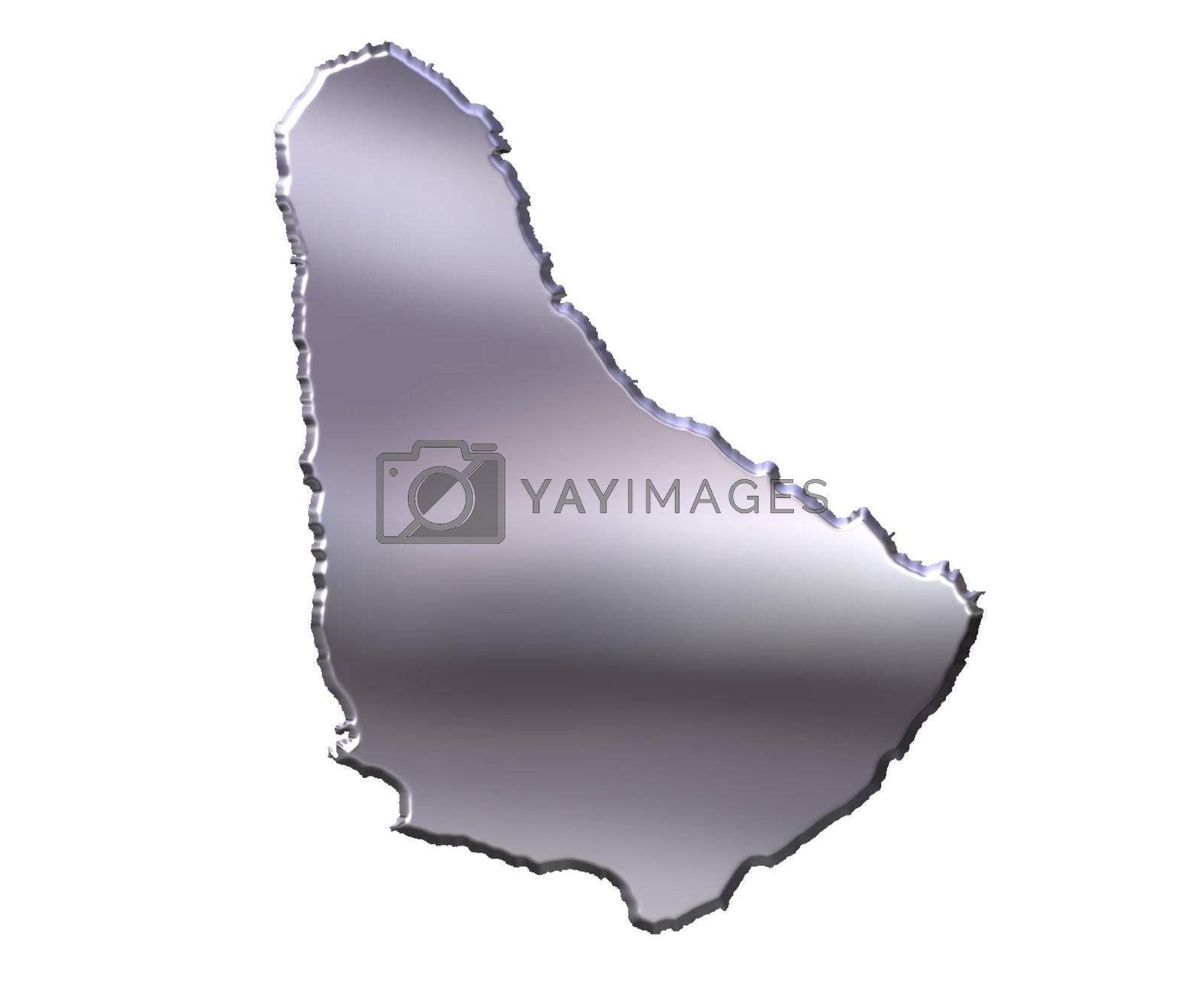 Royalty free image of Barbados 3D Silver Map by Georgios