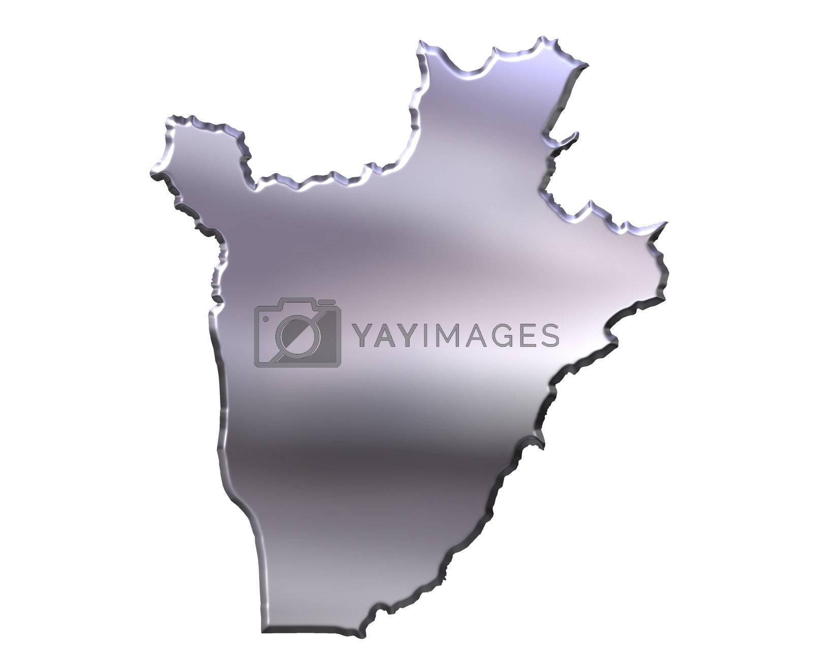 Royalty free image of Burundi 3D Silver Map by Georgios