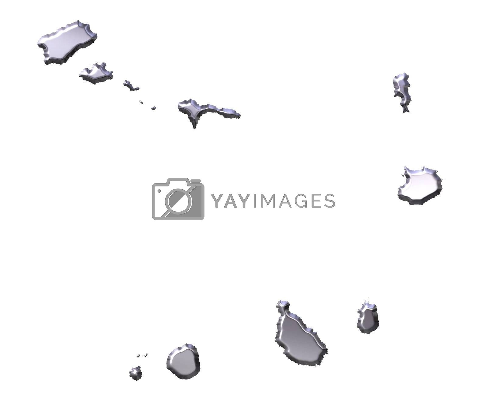 Royalty free image of Cape Verde 3D Silver Map by Georgios