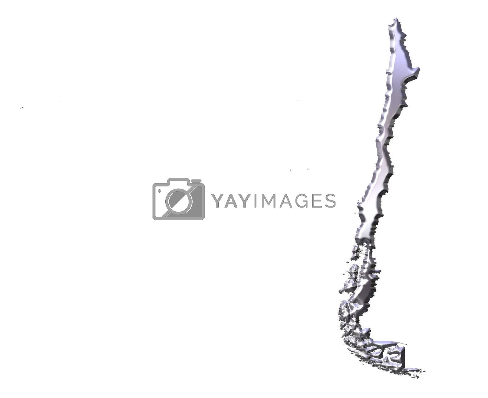 Royalty free image of Chile 3D Silver Map by Georgios