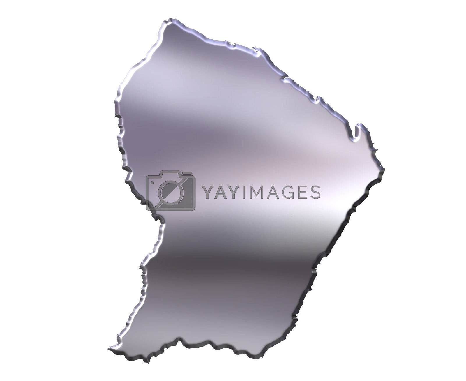 Royalty free image of French Guiana 3D Silver Map by Georgios