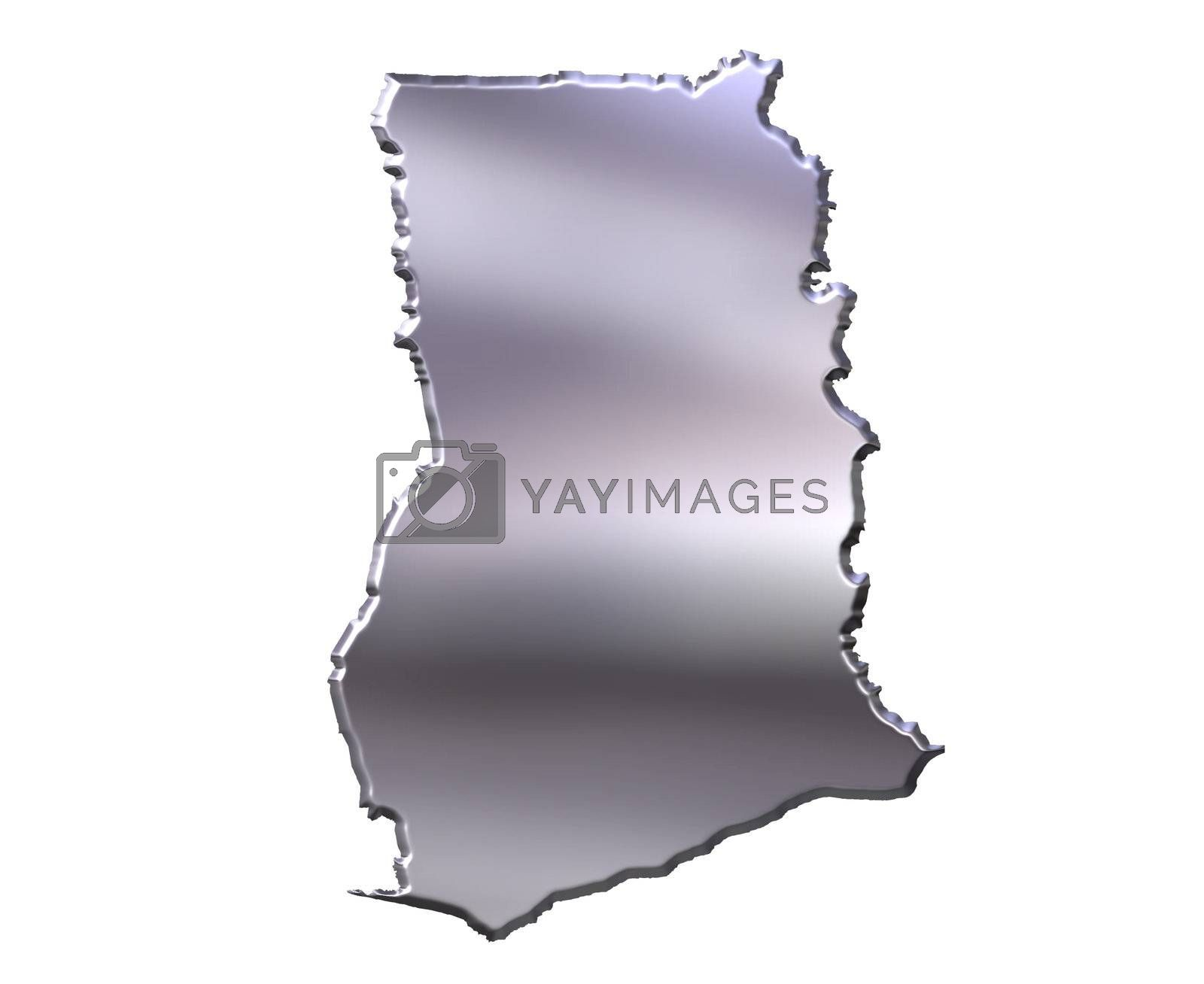 Royalty free image of Ghana 3D Silver Map by Georgios